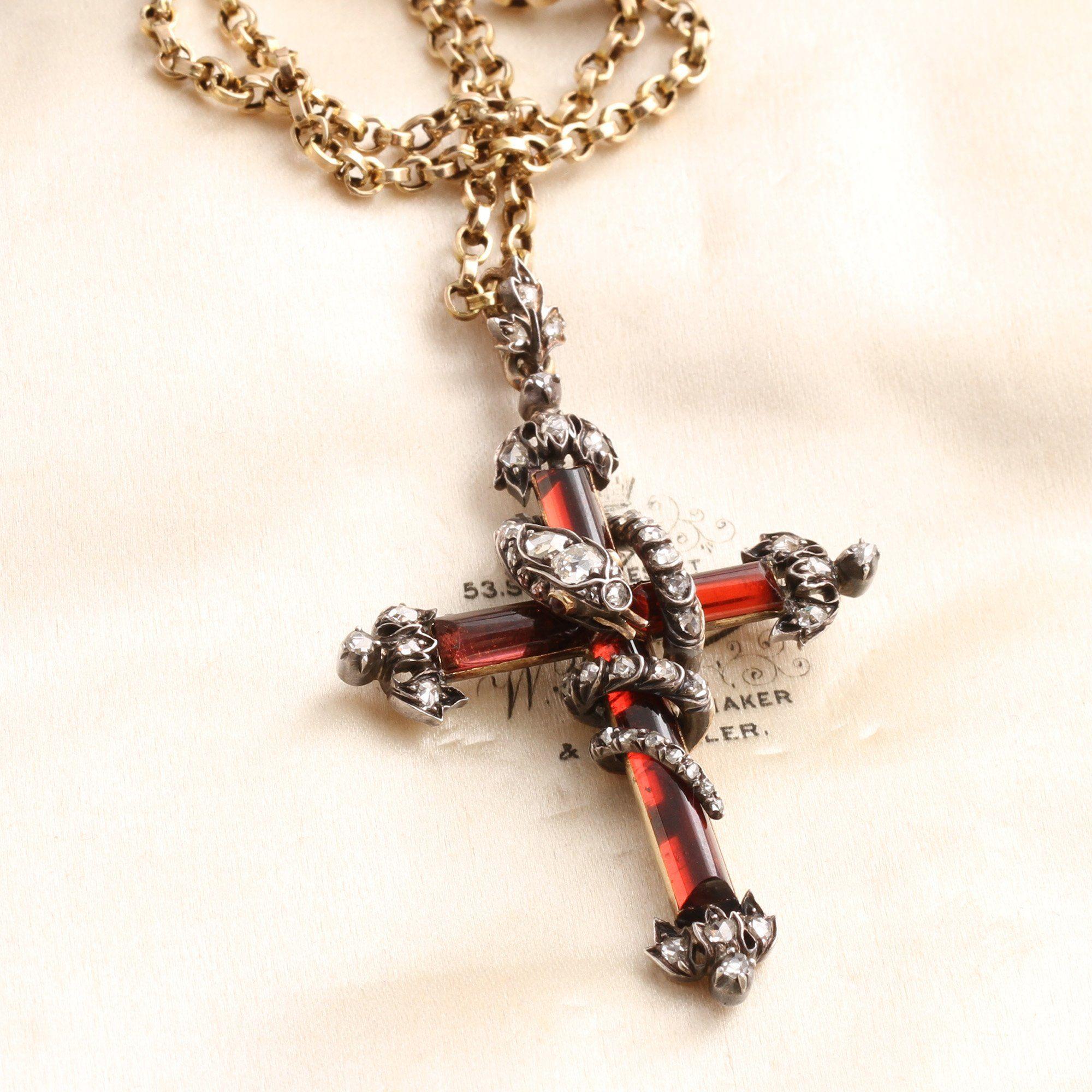 Early Victorian Garnet and Diamond Fleury Cross with Diamond Studded Snake