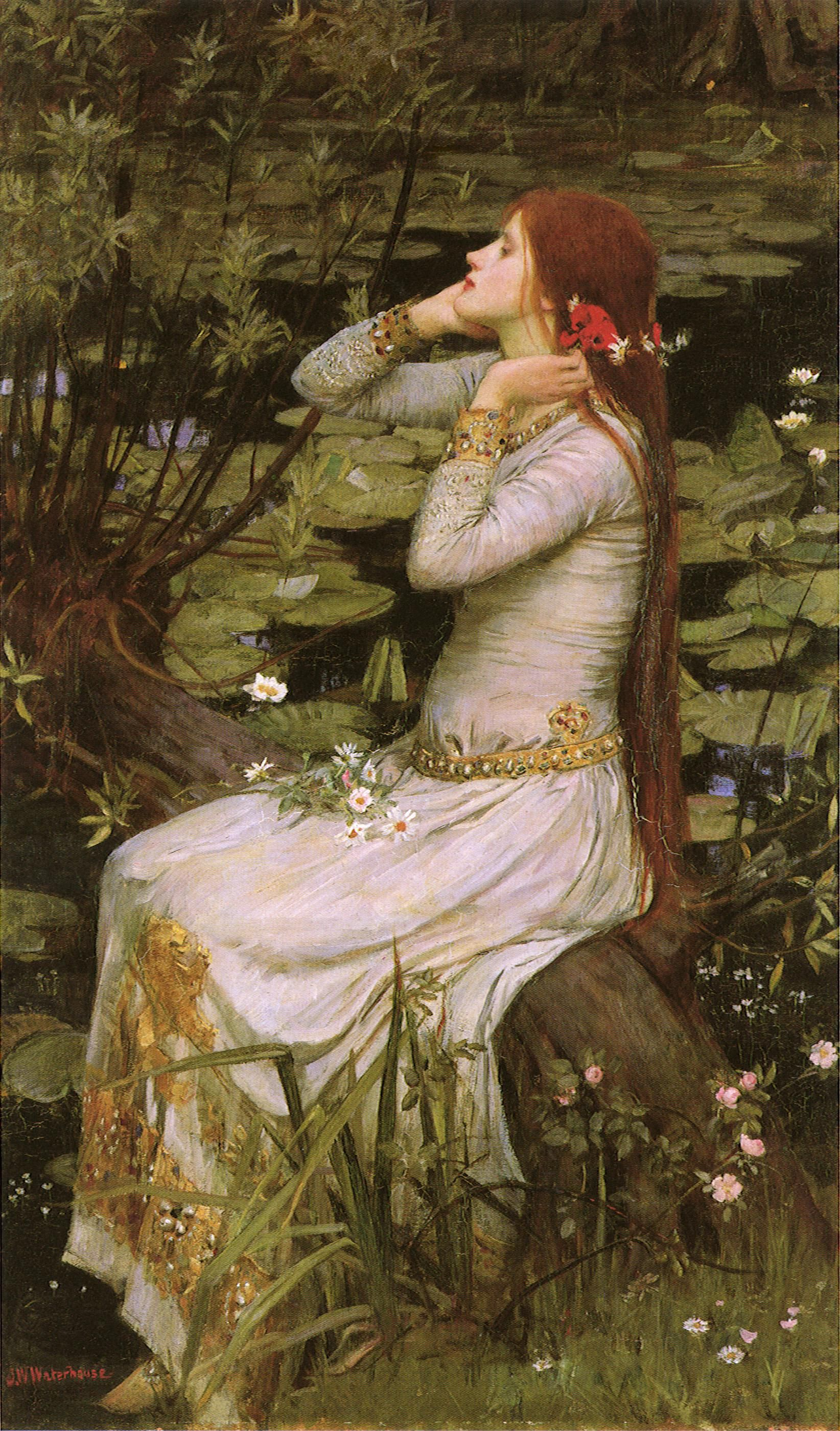 """Ophelia"" by John William Waterhouse, 1894. Many portrayals of Hamlet's tragic character show her interacting with flowers, all meaningful."