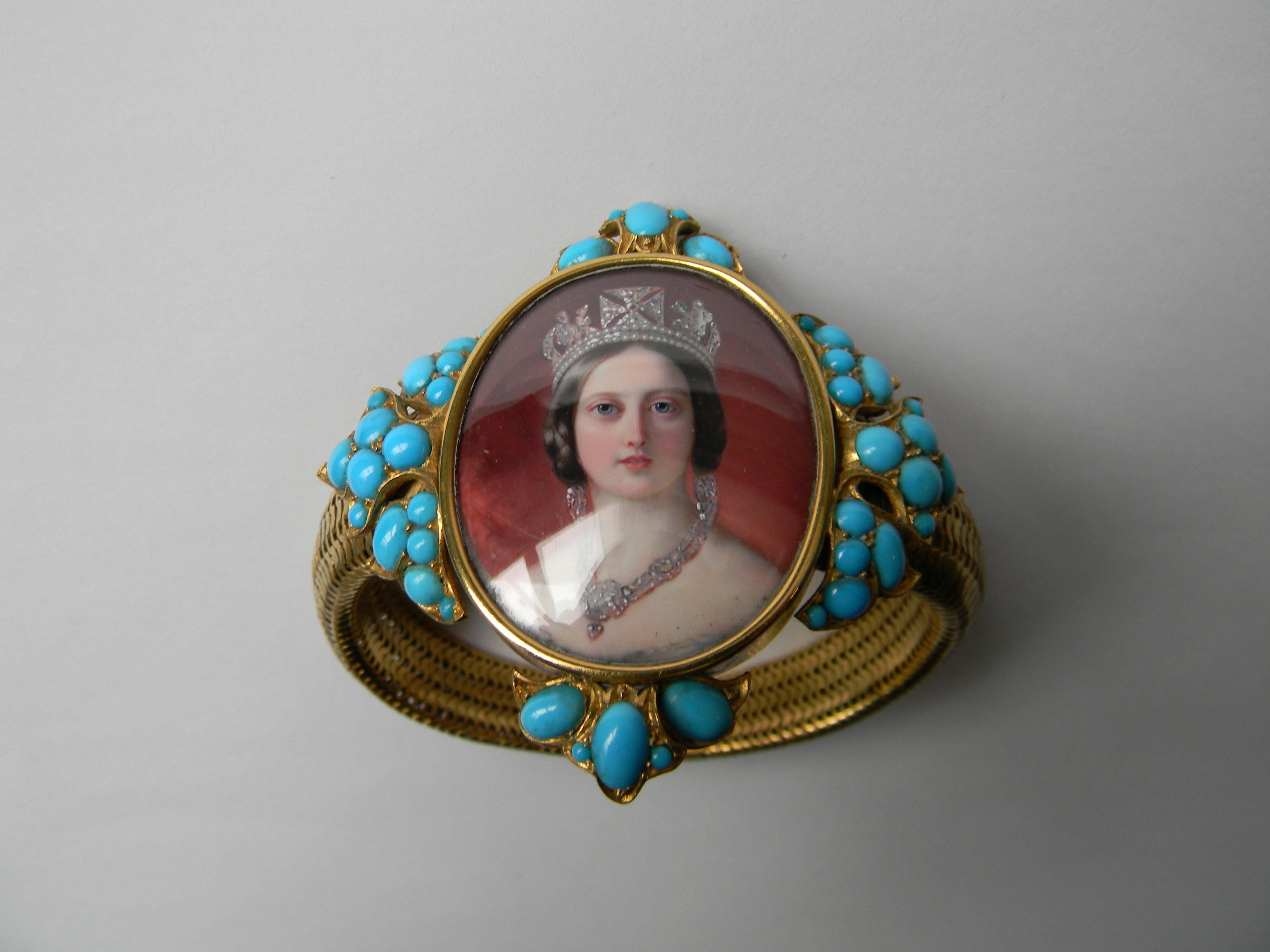 A gold mesh bracelet mounted with a miniature of Queen Victoria in a turquoise studded frame. Presented to The Duchess of Atholl by HM The Queen in July 1852 (Blair castle, Atholl Estates)