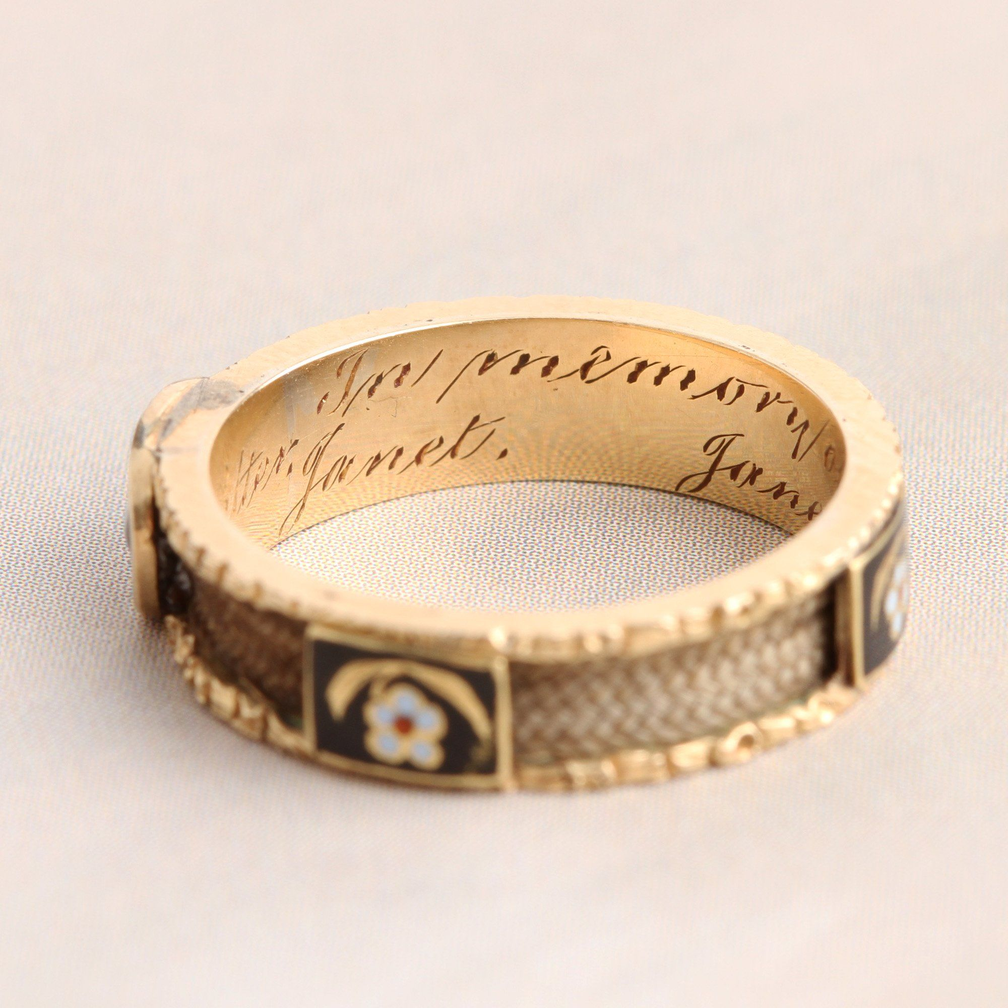 Detail of Victorian Forget Me Not Hair Mourning Band for Five Children