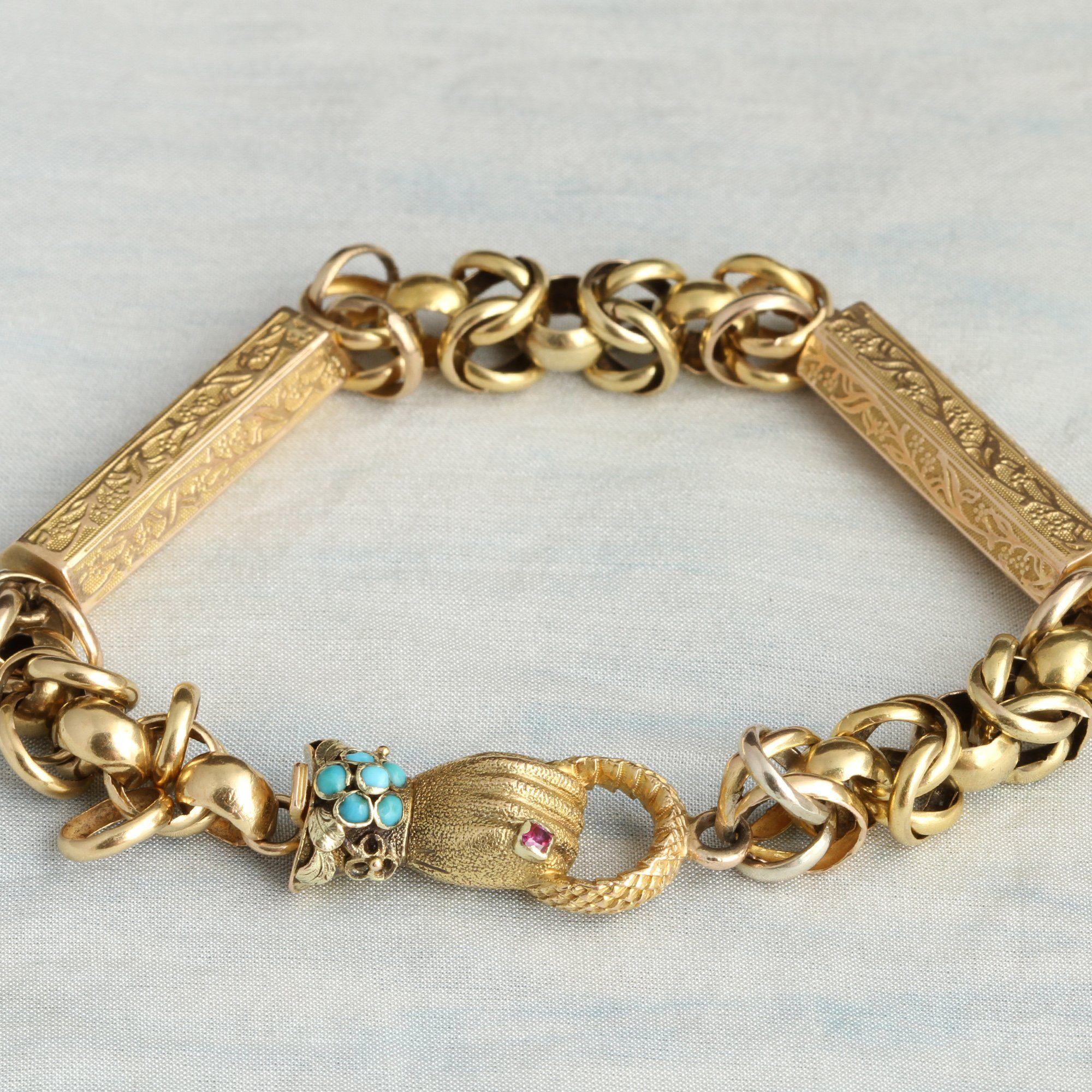 Georgian Pinchbeck Fancy Chain Hand Clasp Bracelet