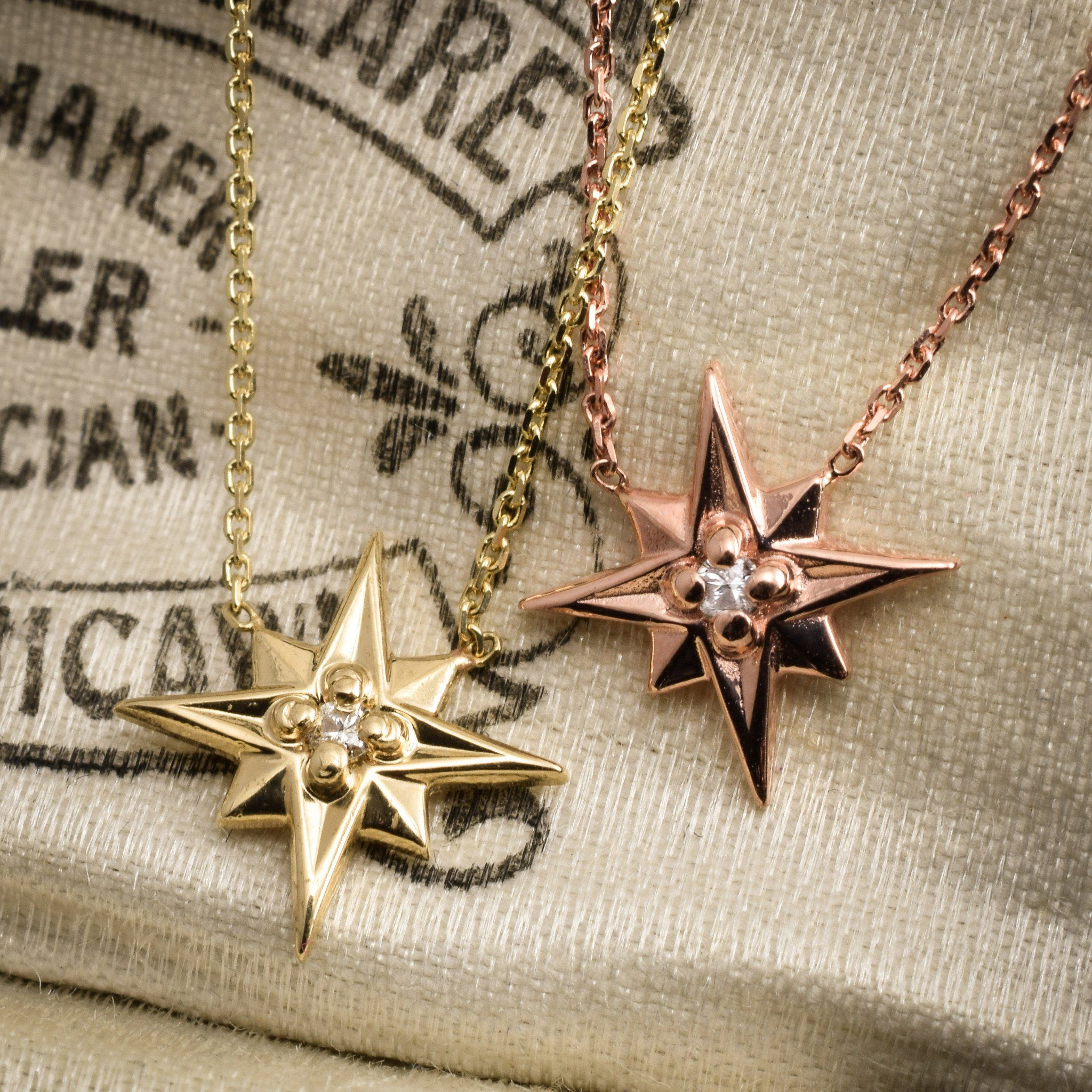 Compass Rose Necklace (14k Yellow Gold)