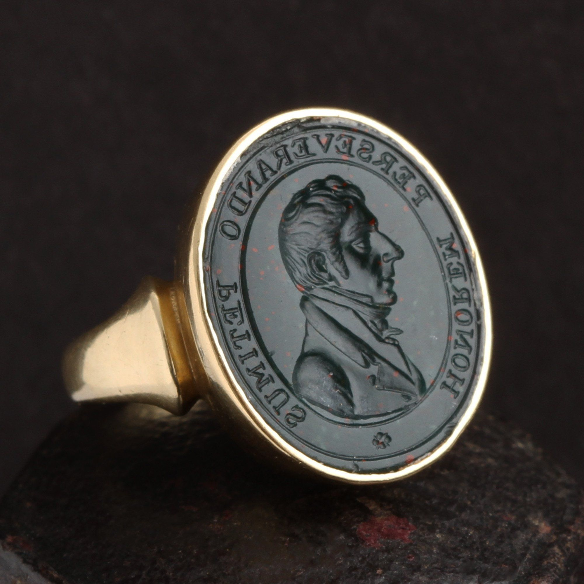 """Victorian """"Honorem Perseverando Petimus"""" Bloodstone Intaglio Ring"""
