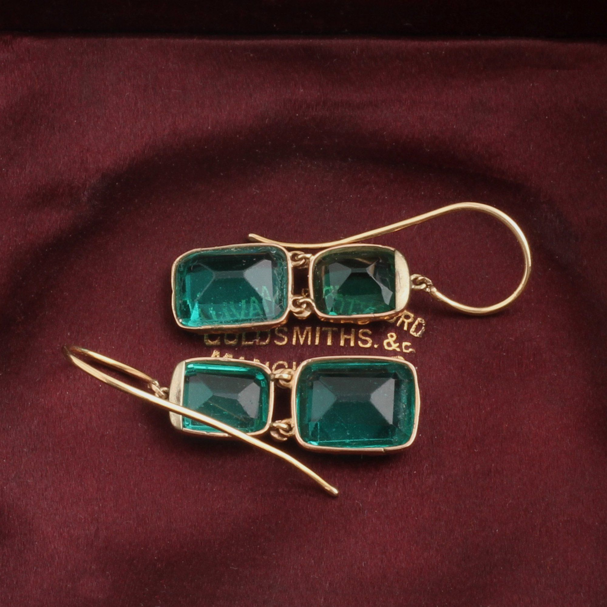 Early Victorian Green Paste Drop Earrings