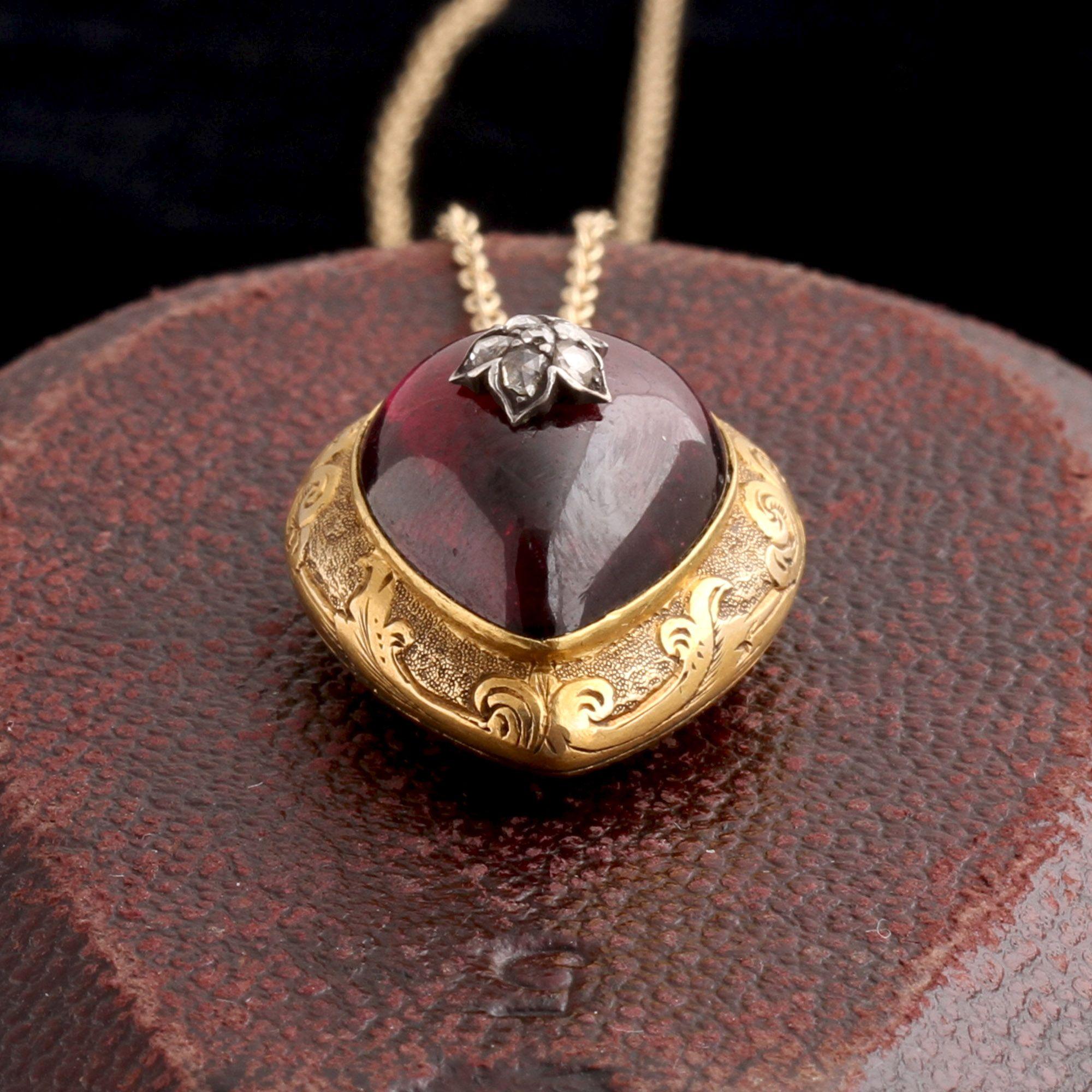 Victorian Garnet & Diamond Heart Locket