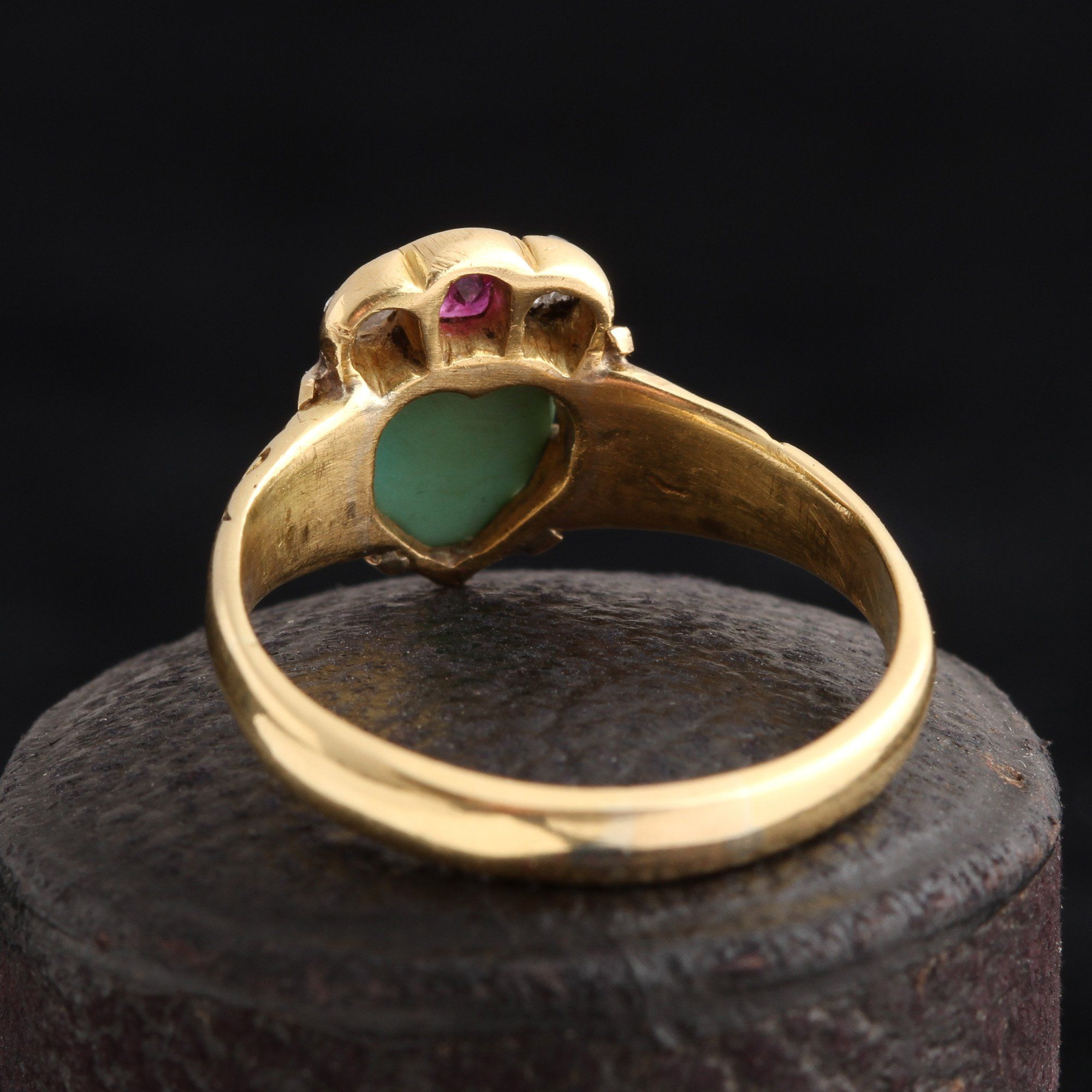 Victorian Turquoise Crowned Heart Ring