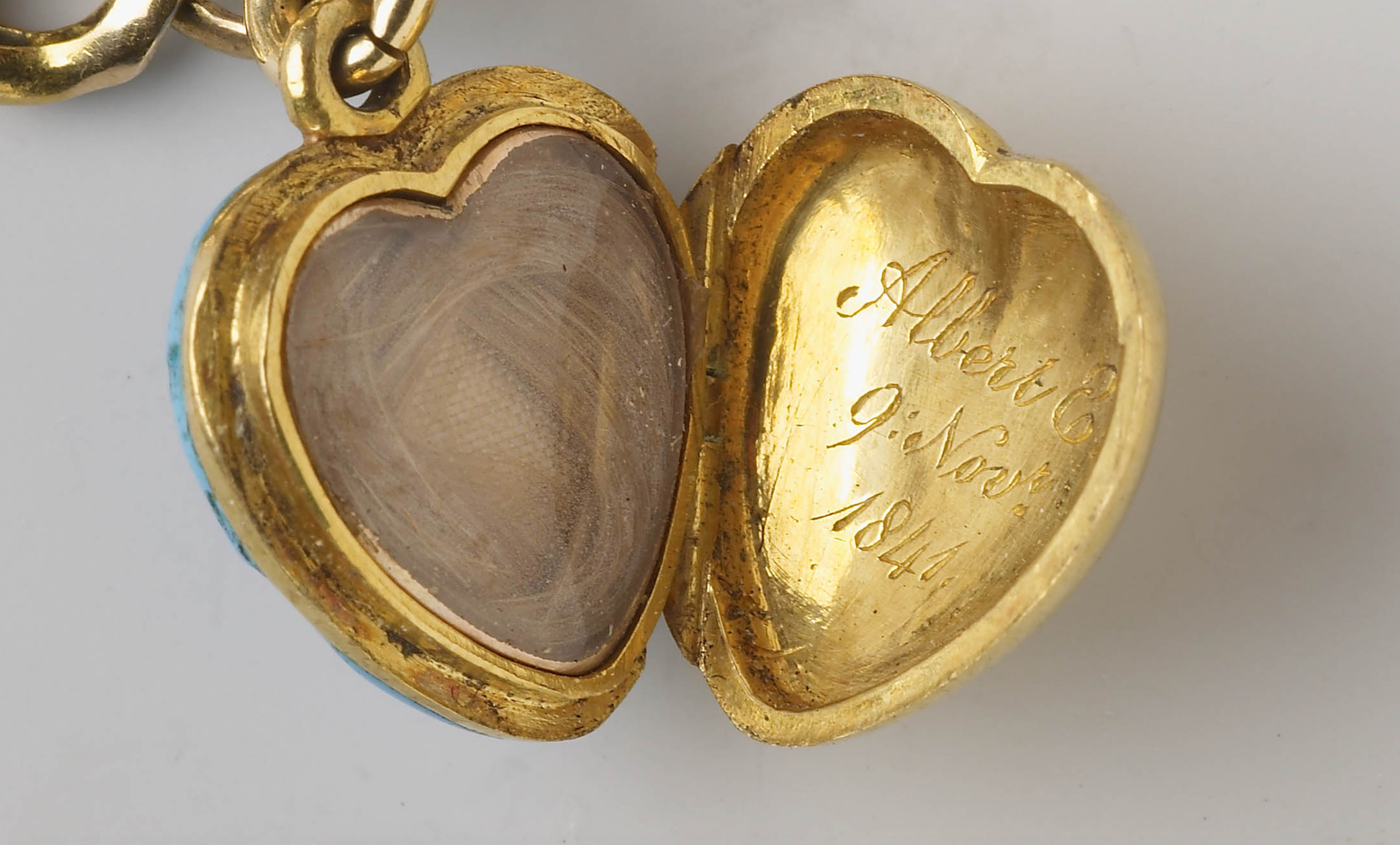 interior of one of the lockets on Queen Victoria's bracelet