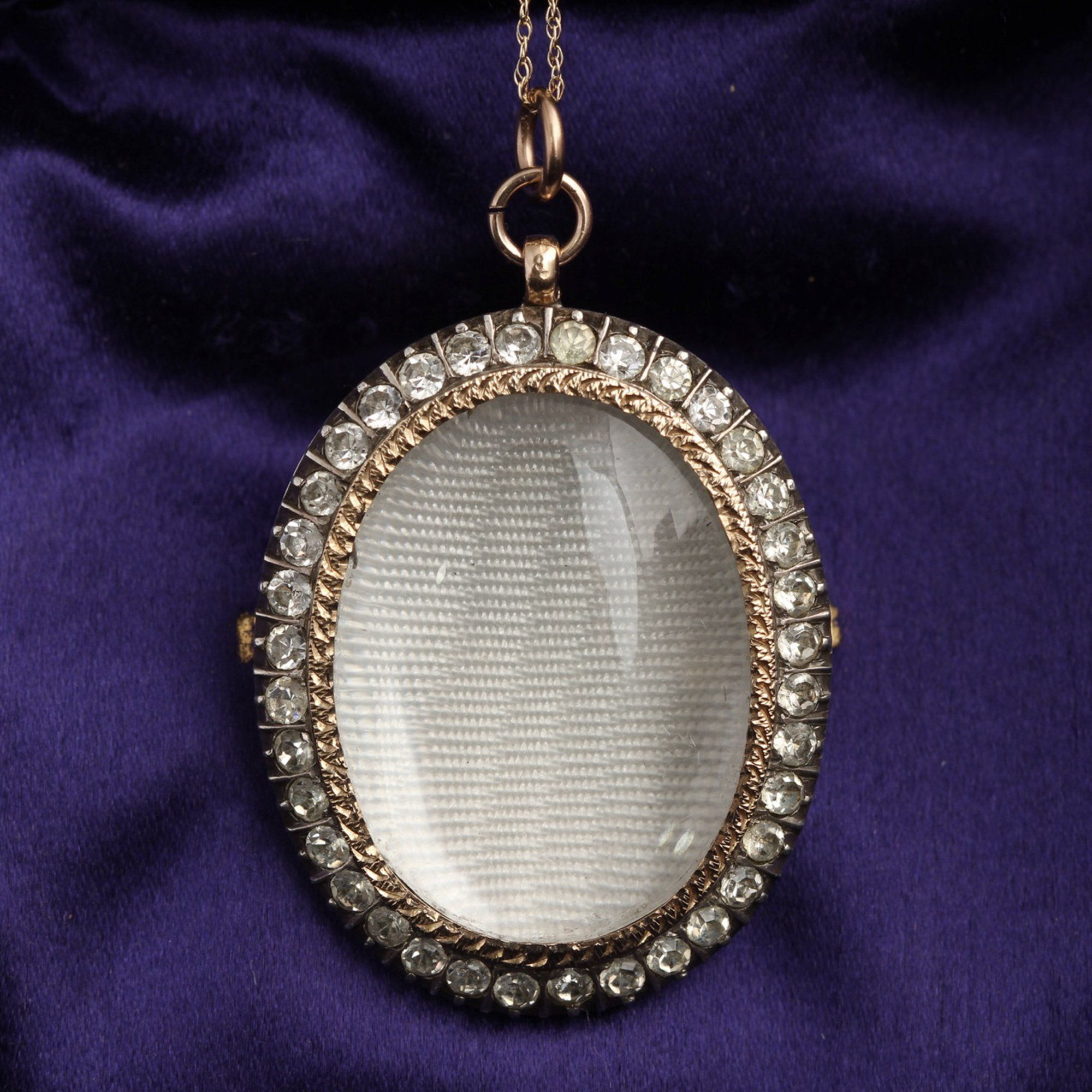 Victorian Paste Photo Locket Necklace