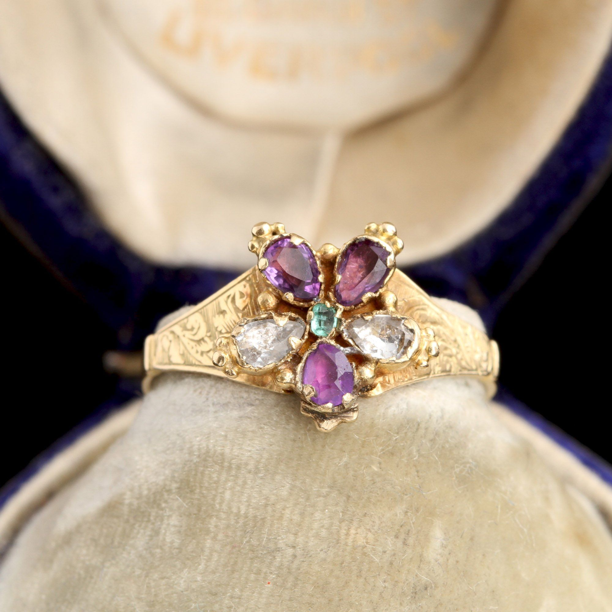 Early Victorian Gemstone Pansy Ring