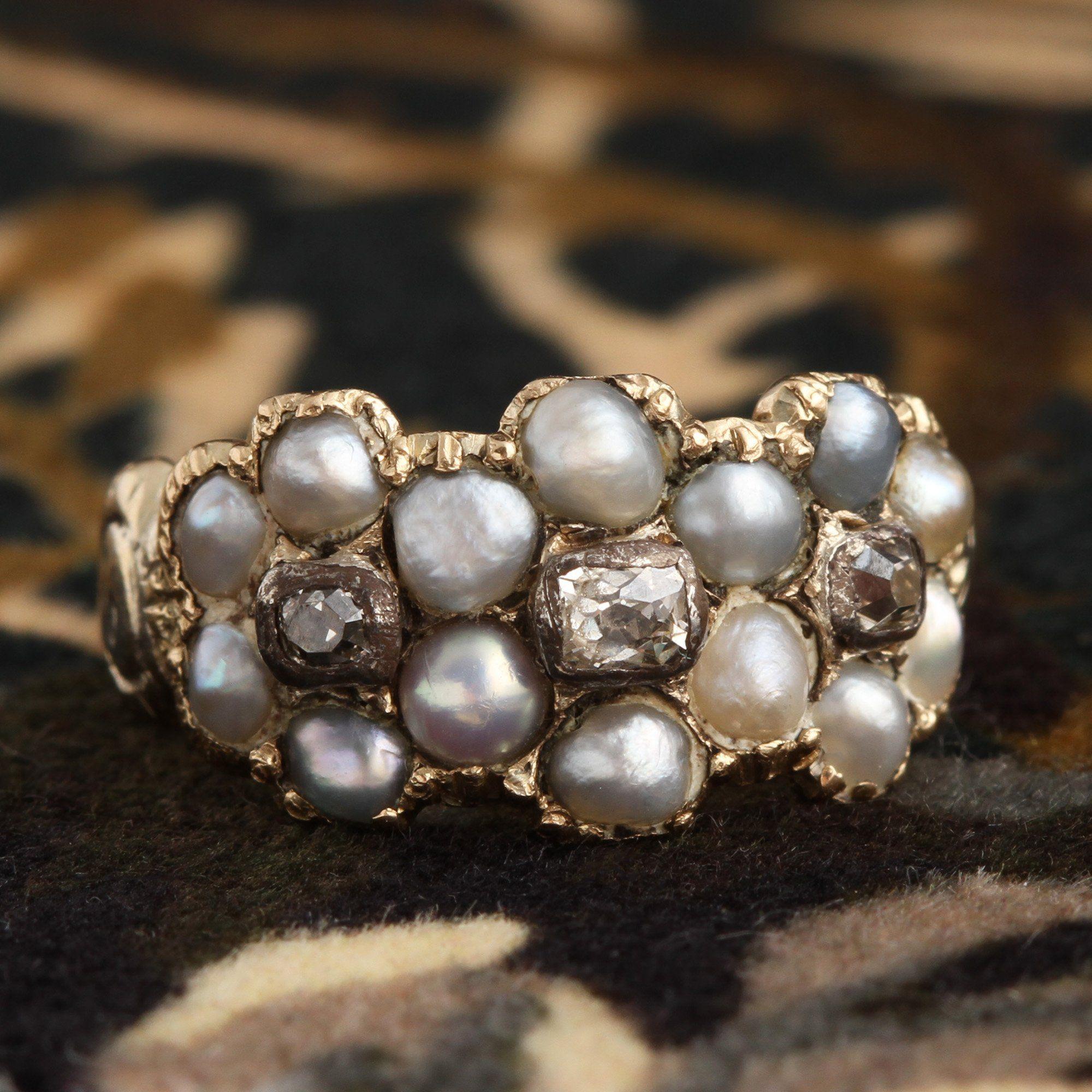 Georgian Pearl & Diamond Triple Cluster Ring