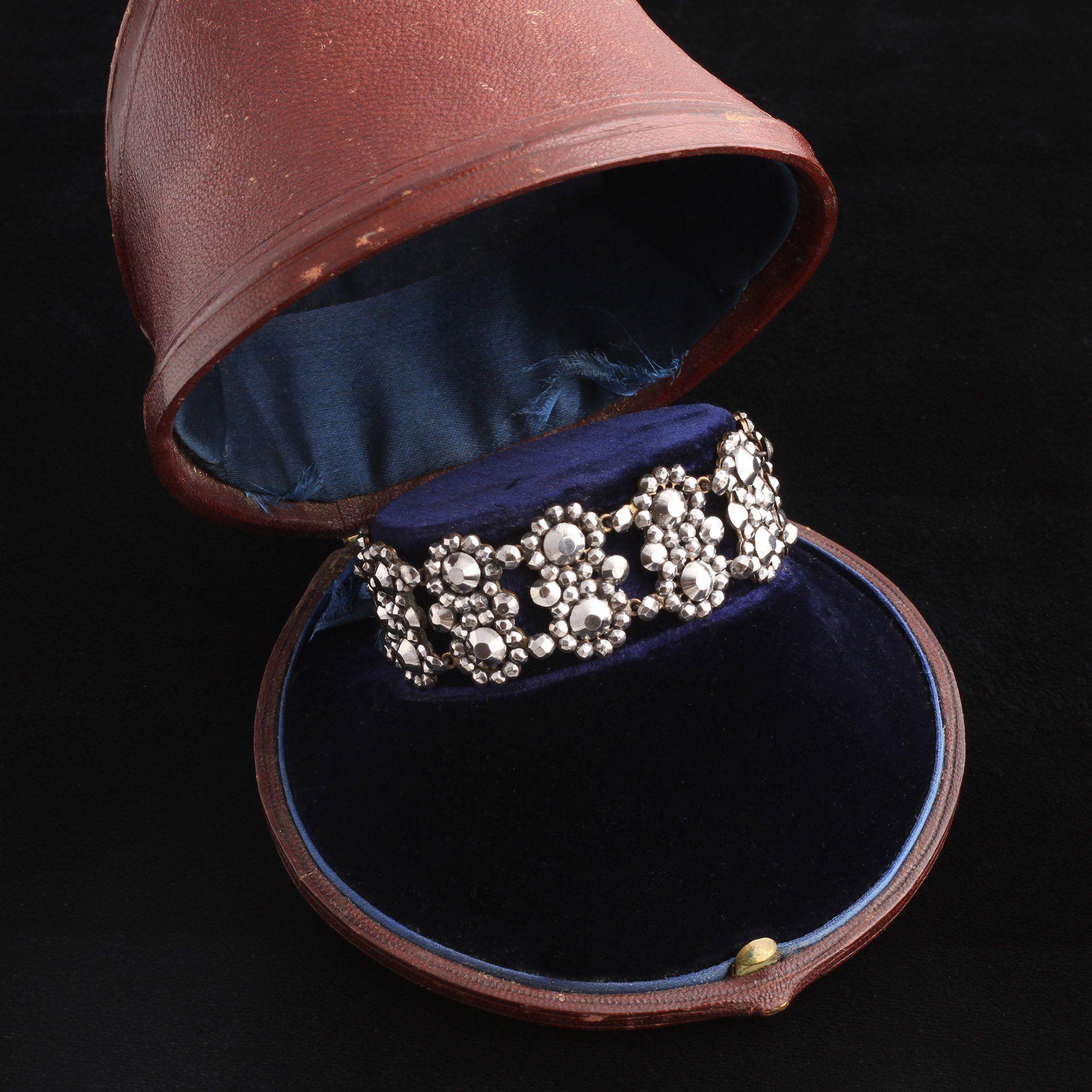 Georgian Double Cluster Cut Steel Bracelet