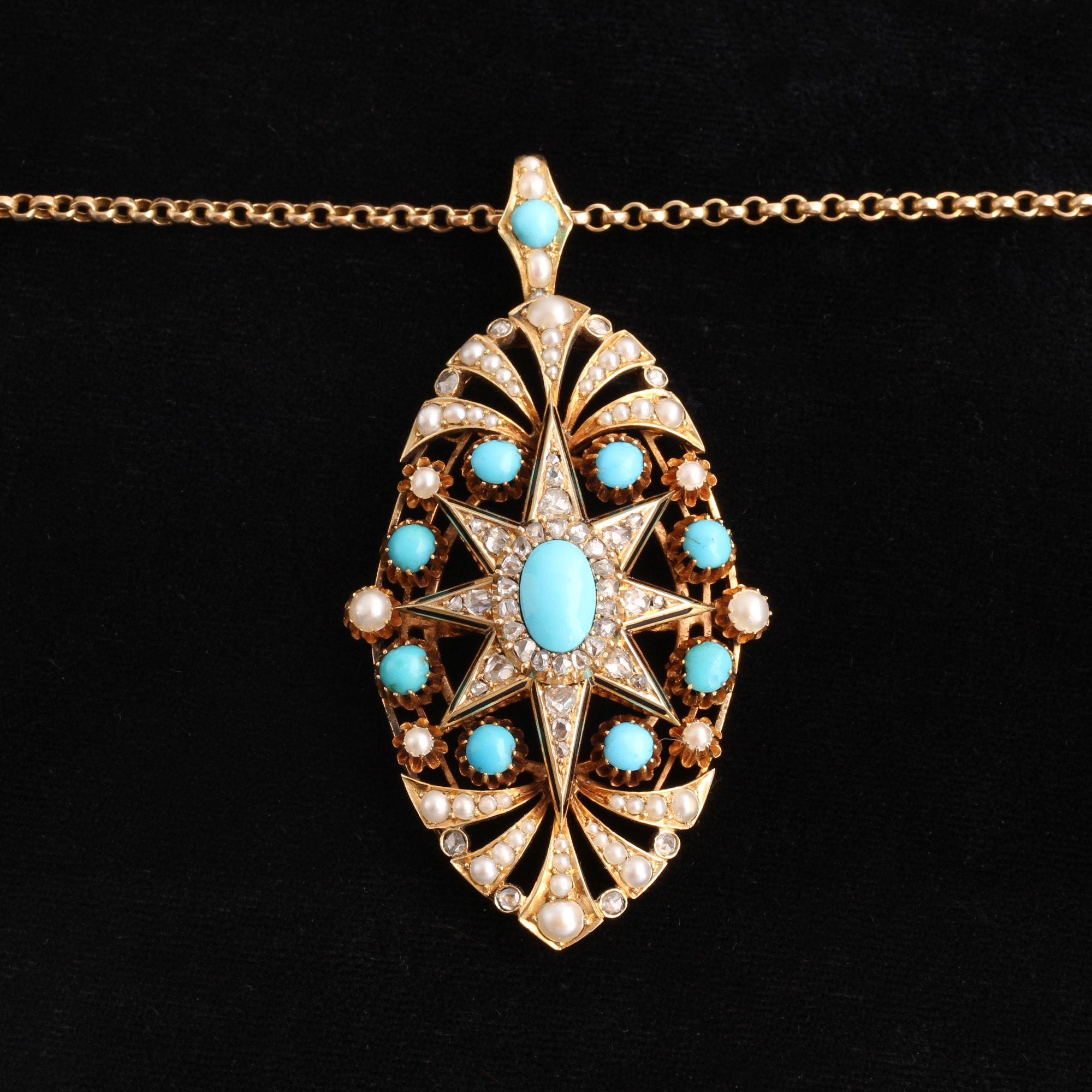 Victorian Enamel, Rose Cut Diamond, Pearl and Persian Turquoise Starburst Pendant