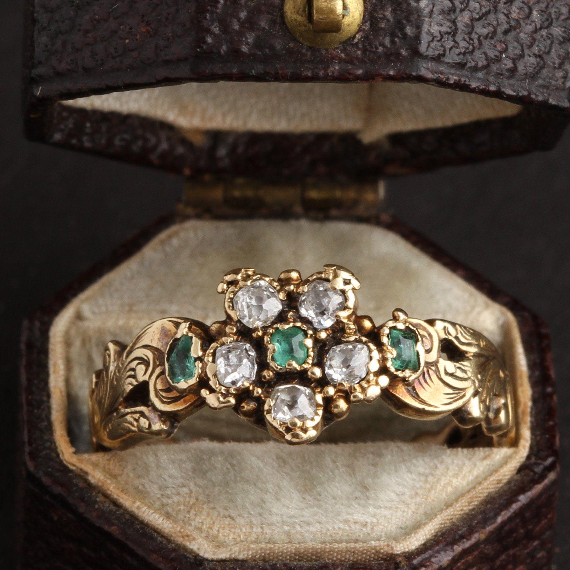 Georgian Emerald and Diamond Pansy Ring