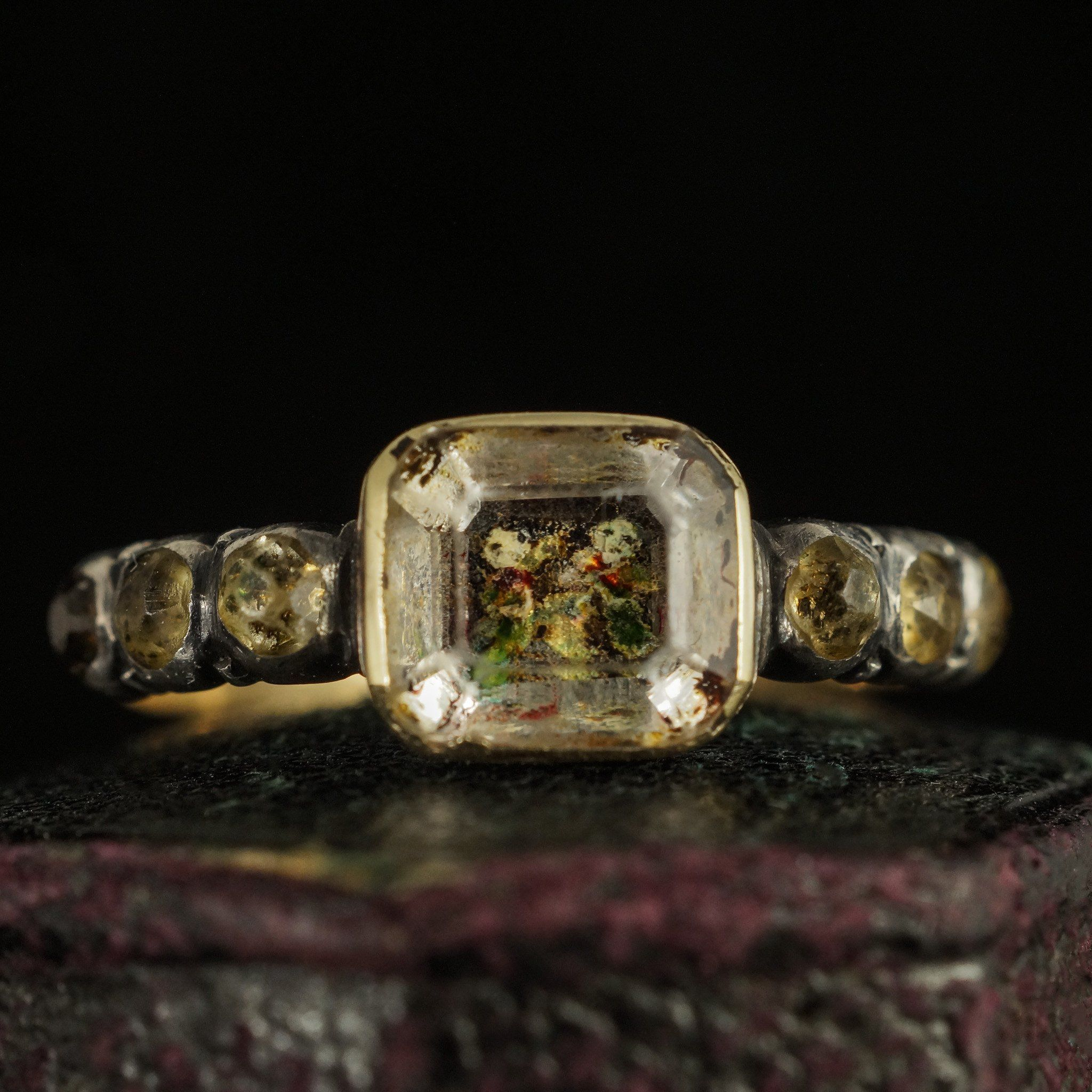 Detail of Stuart Crystal Mourning Ring with Cherubs