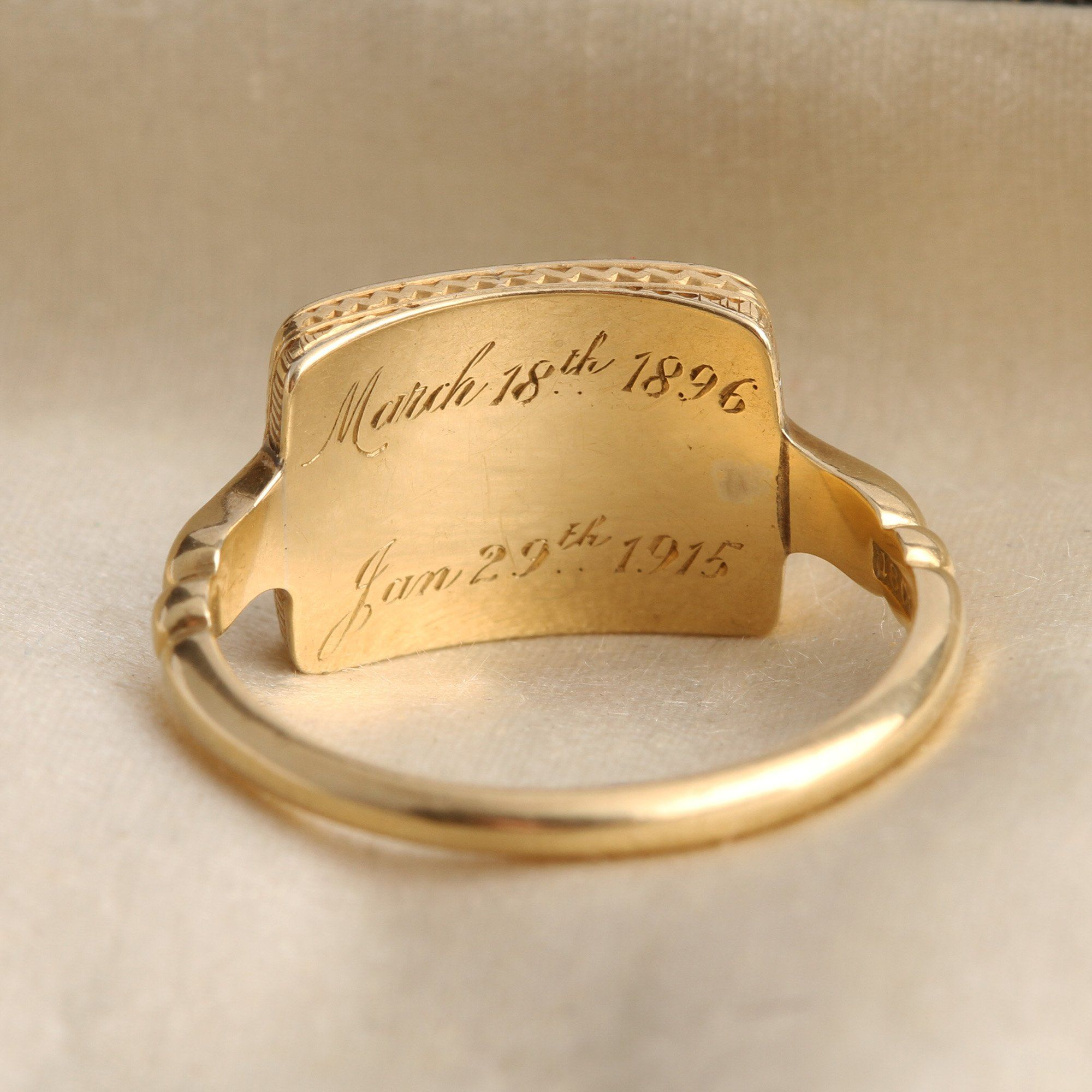 """Inscription detail of WWI """"MT"""" Mourning Ring"""