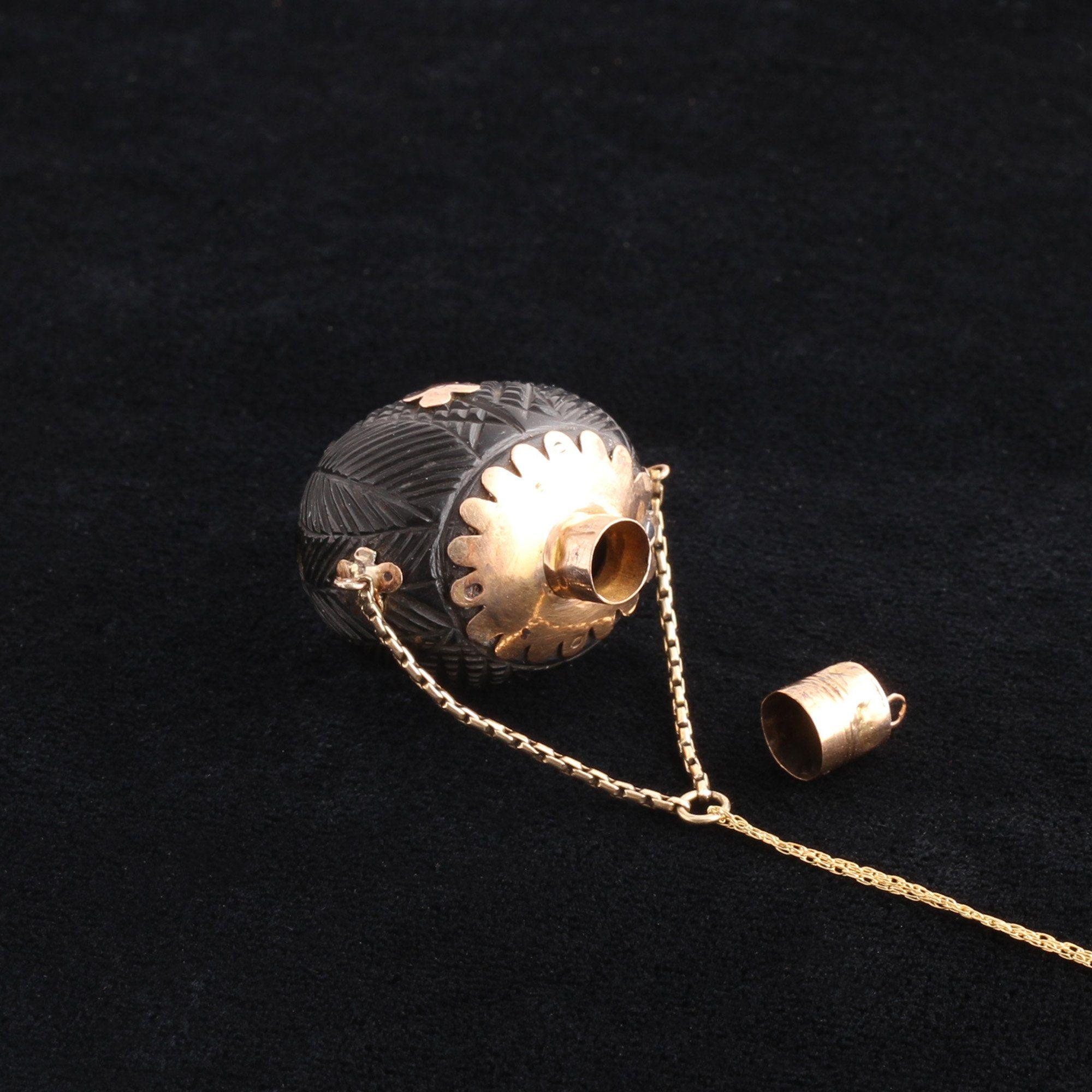 Victorian Sea Bean Scent Bottle Necklace