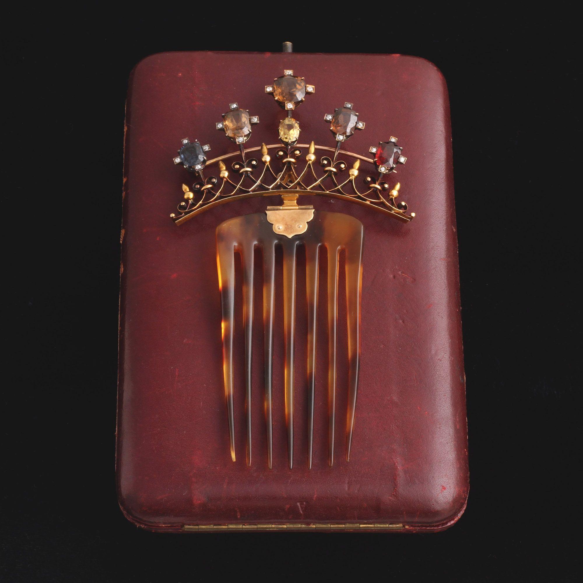 1920s Gemstone Hair Comb/Brooch in Original Box