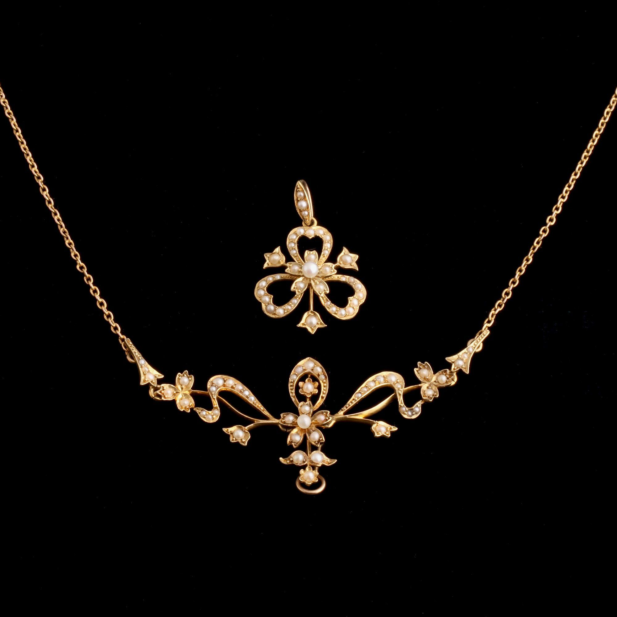 Edwardian Seed Pearl Clover Necklace