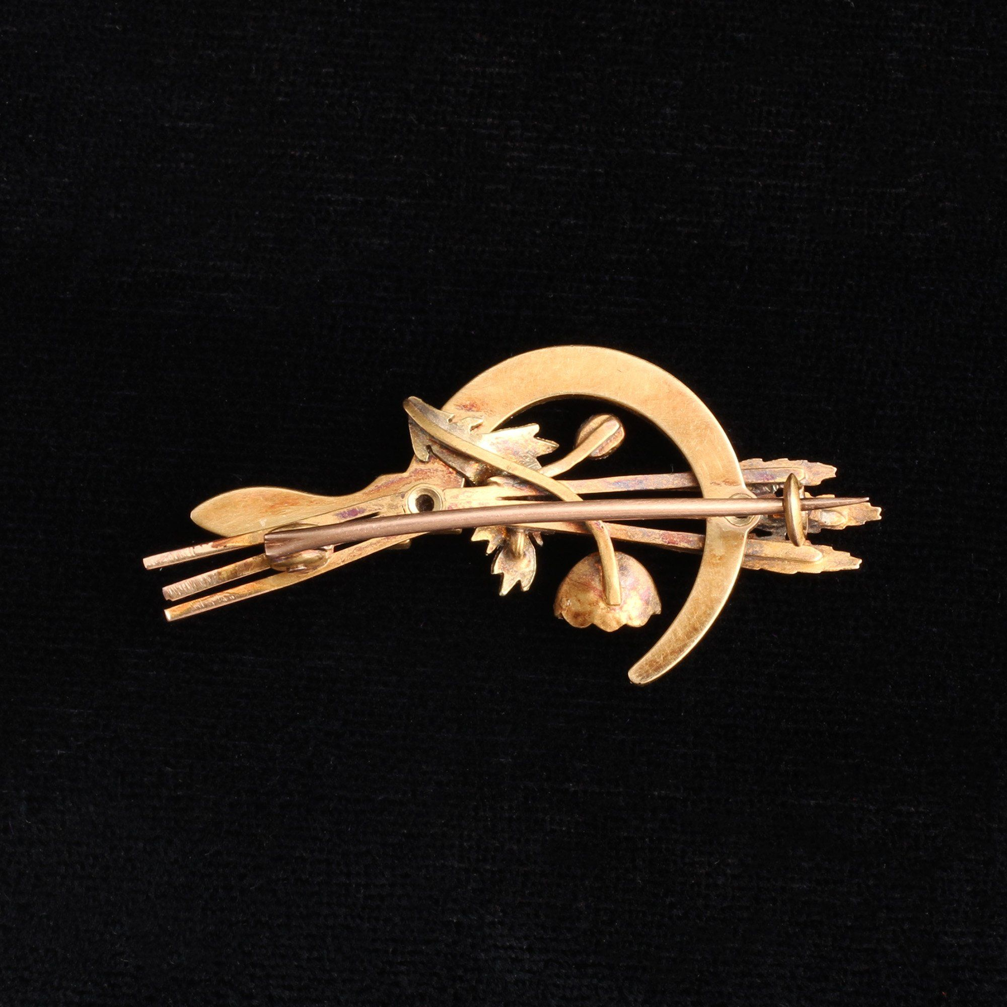 Victorian Tricolor Gold & Pearl Sickle Brooch