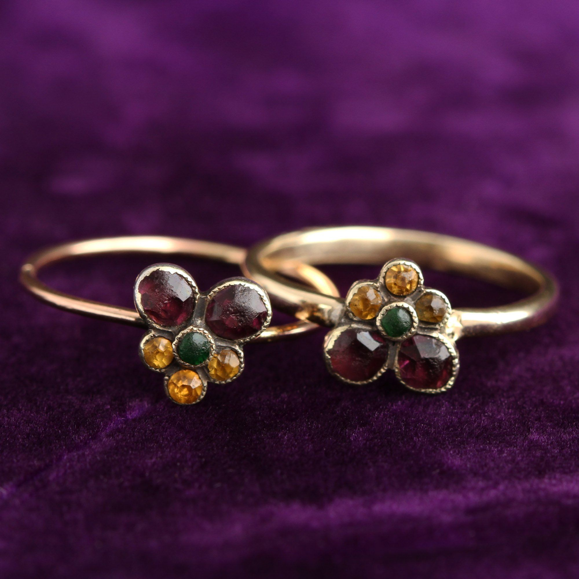 Detail of French Amethyst, Emerald and Citrine Pansy Ring
