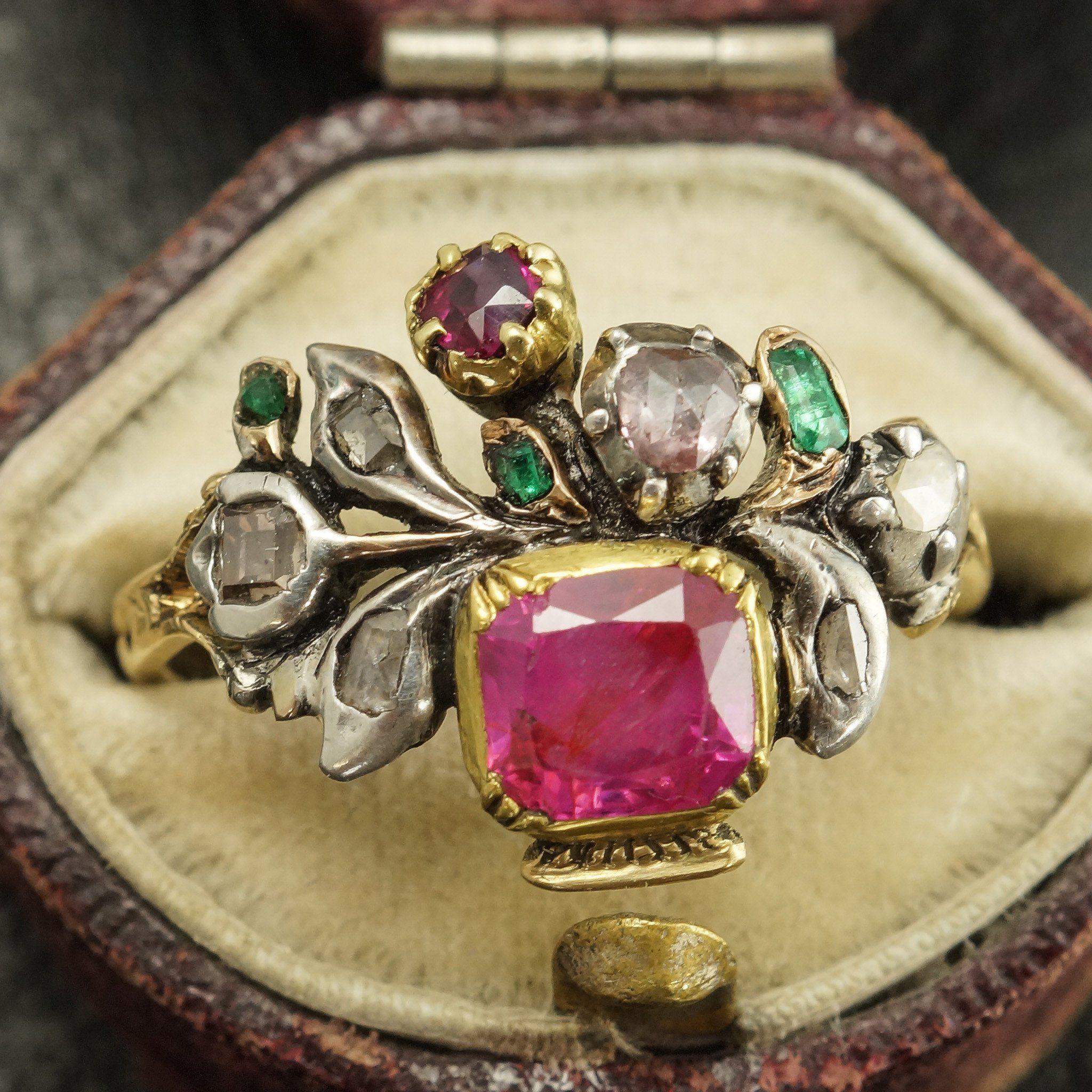 Georgian Ruby, Diamond, and Emerald Giardinetti Ring