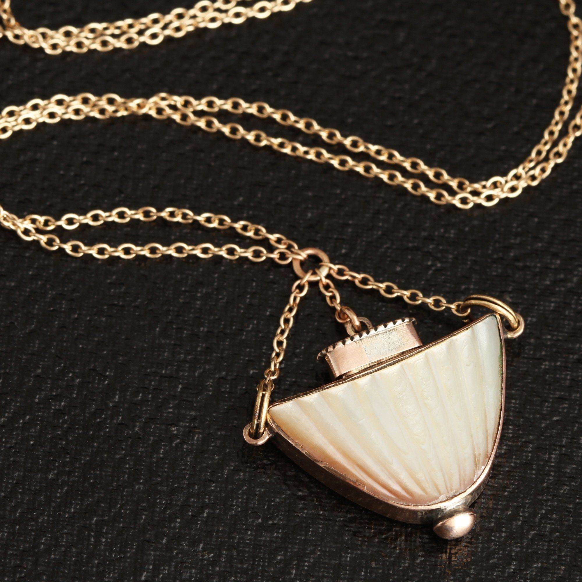 Detail of Georgian Mother of Pearl Urn Scent Bottle Necklace
