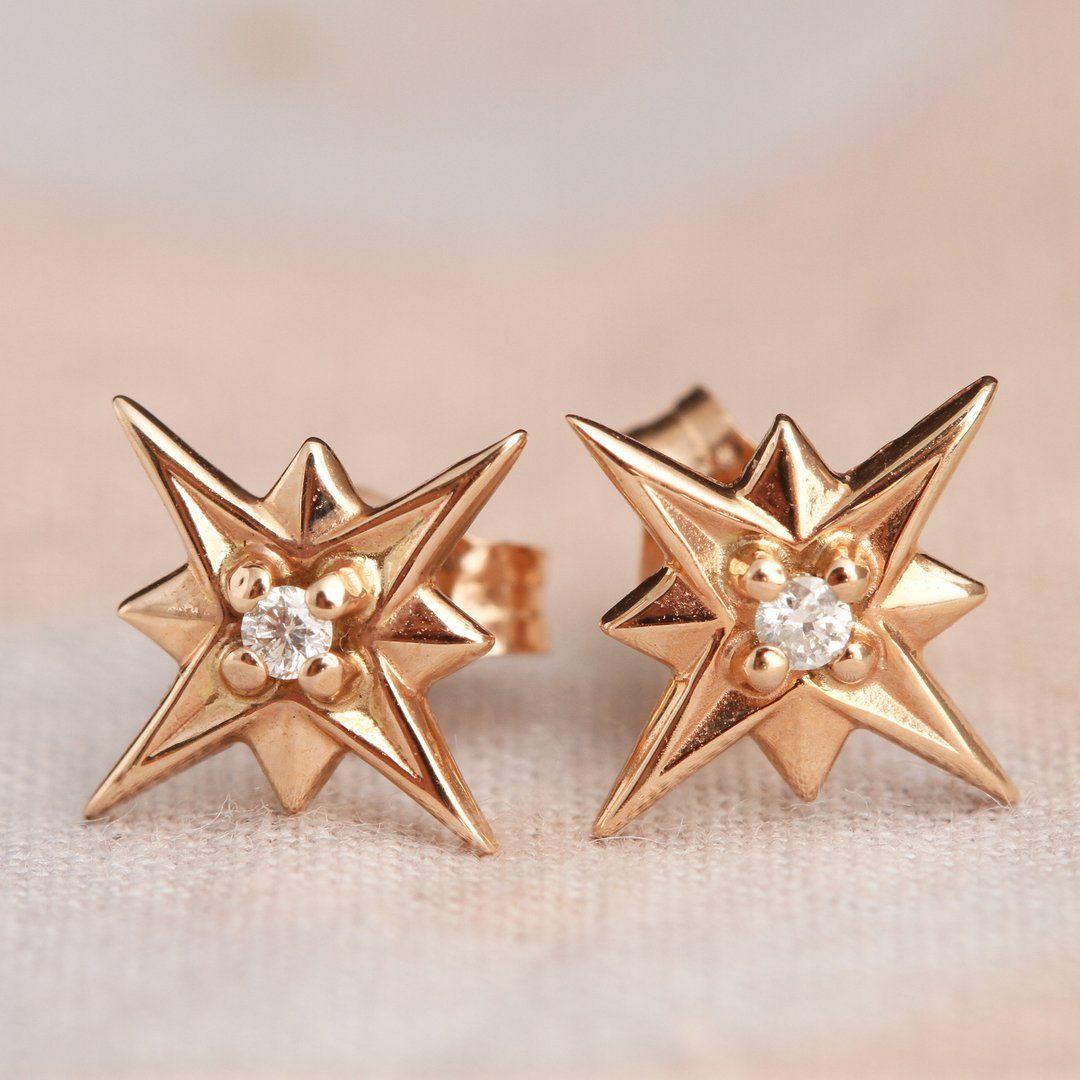 Compass Rose Earrings (14k Rose Gold)