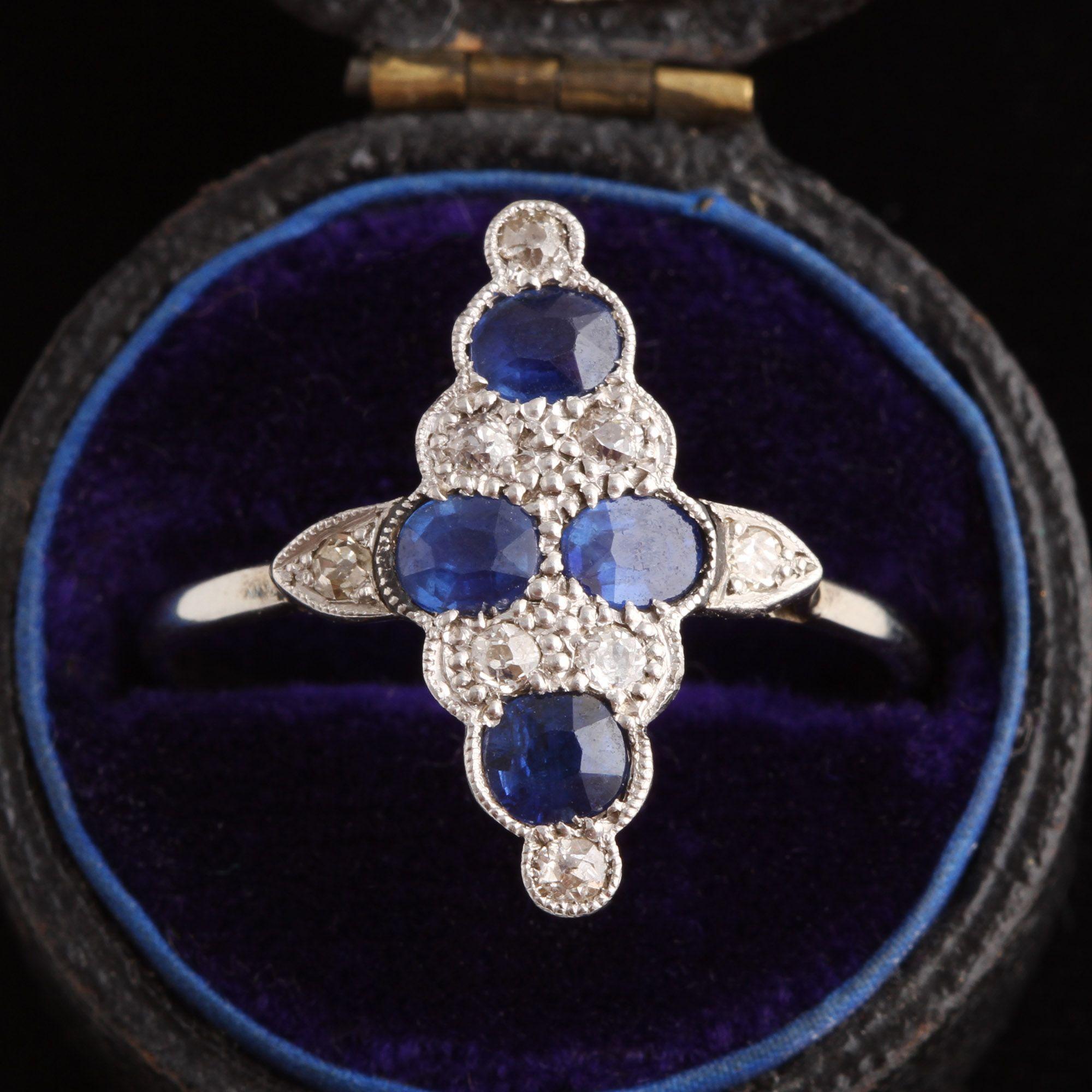 Art Deco Sapphire & Diamond Cocktail Ring