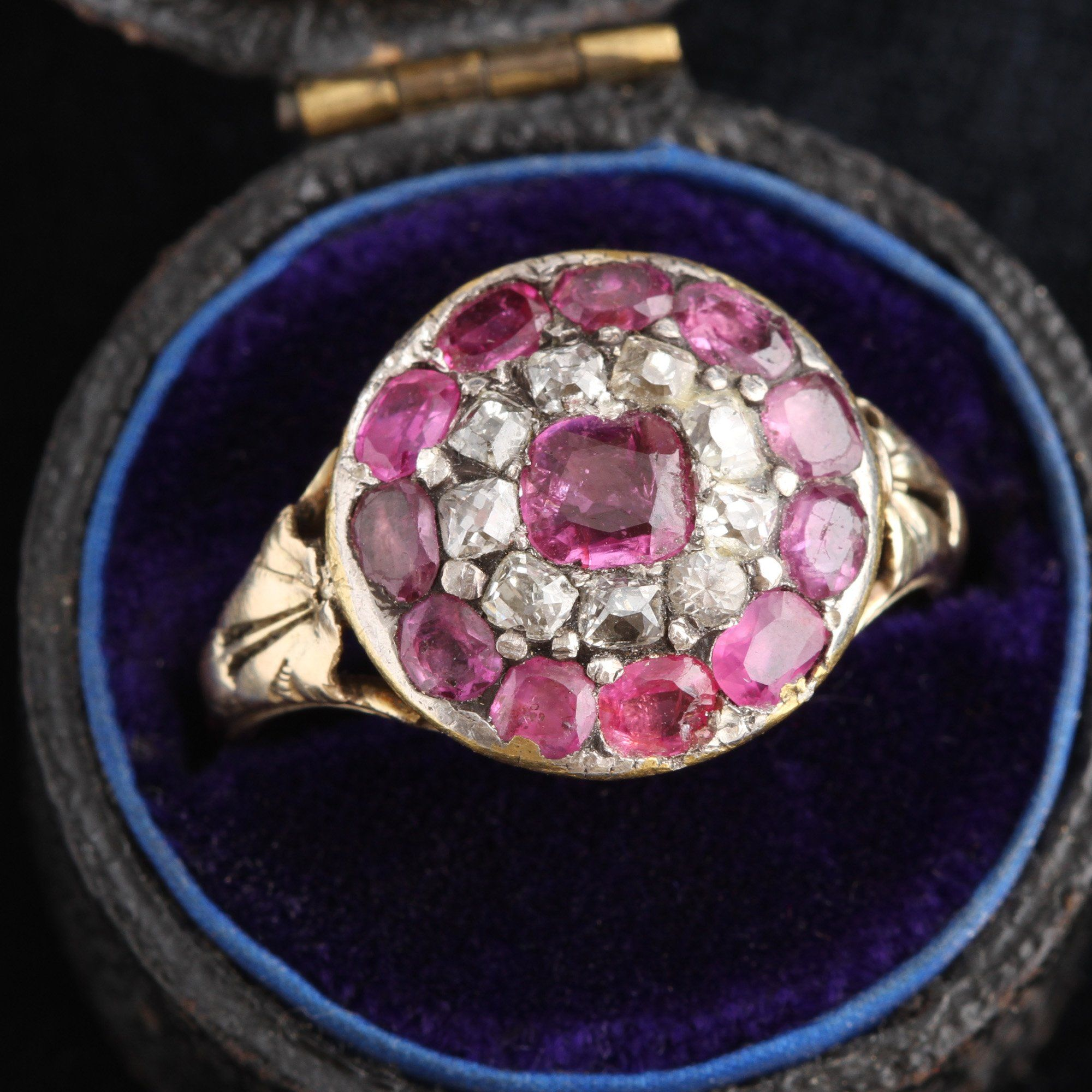 18th Century Ruby and Diamond Target Cluster Ring
