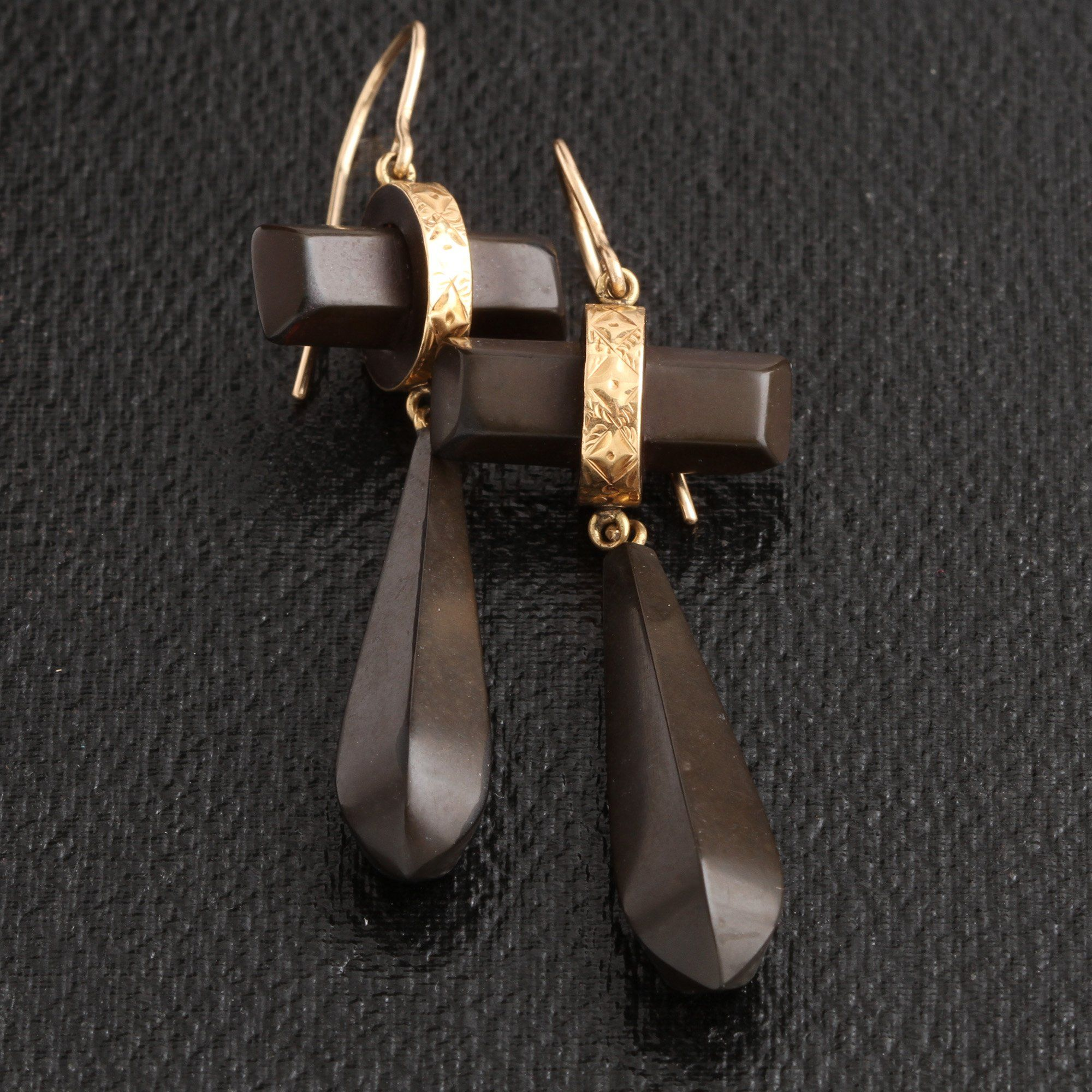 Victorian Gutta Percha Torpedo Earrings