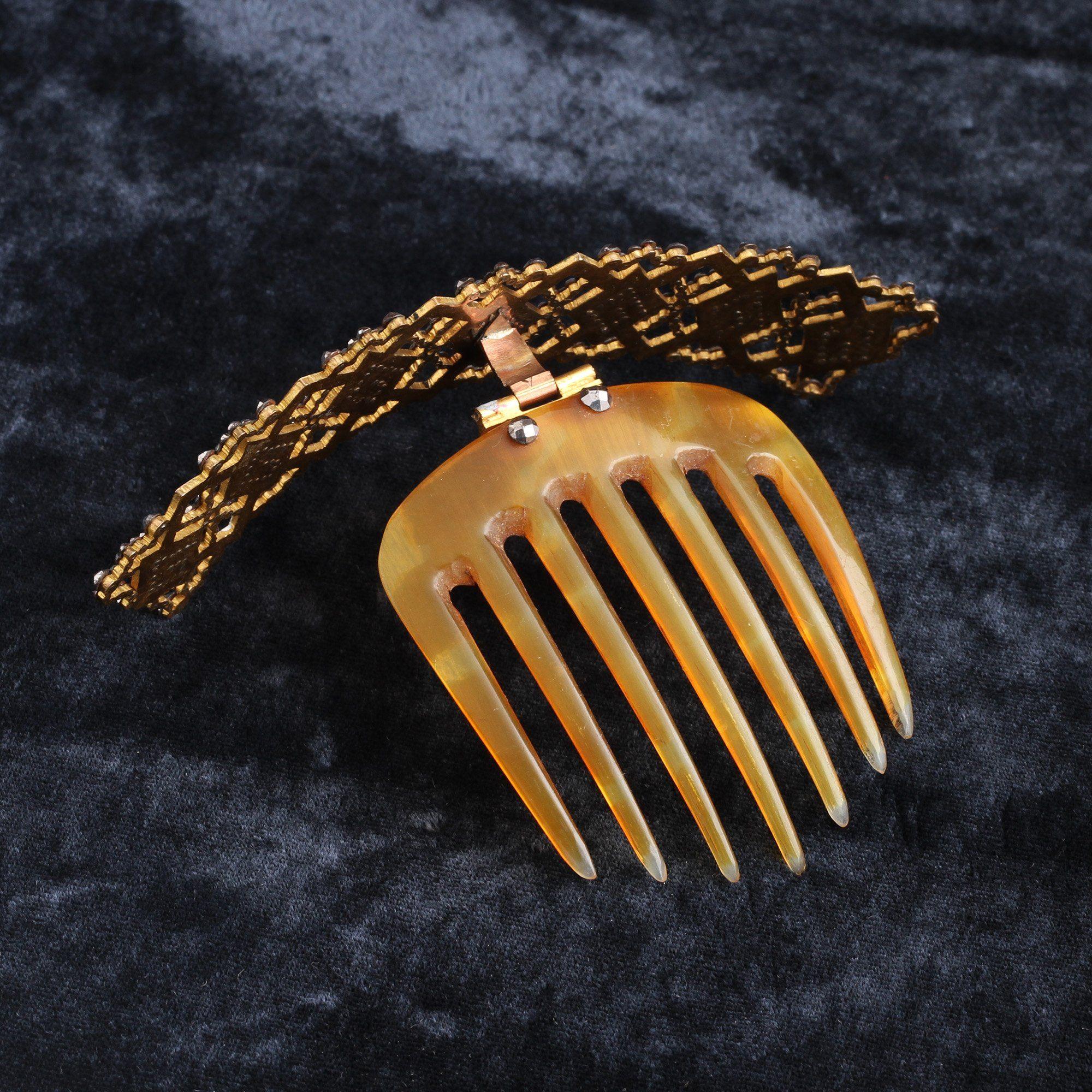 Georgian Cut Steel & Enamel Hair Comb