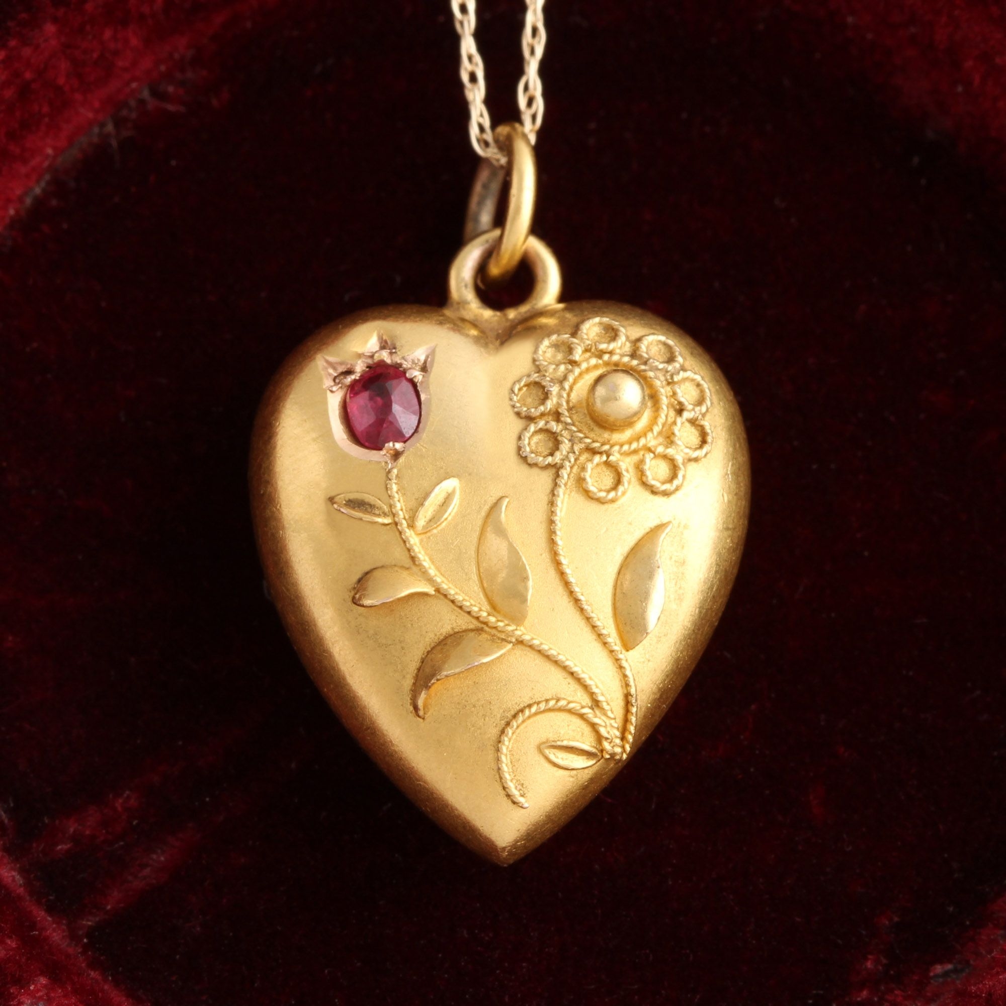 Edwardian Ruby and Flower Heart Necklace