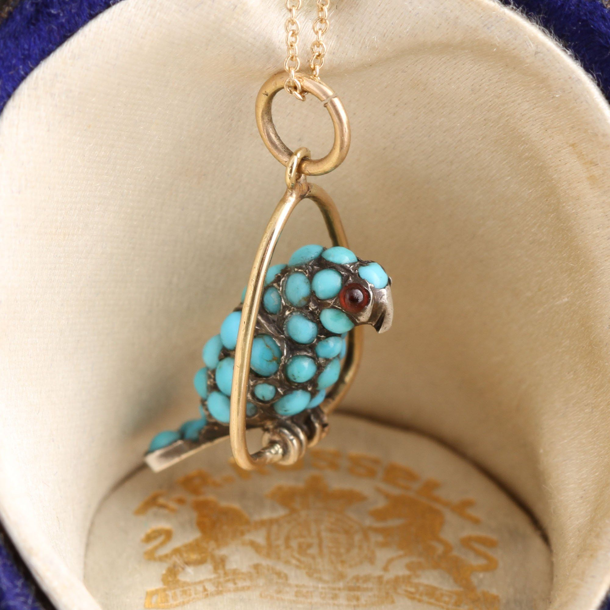 Victorian Turquoise and Garnet Parrot Charm Necklace