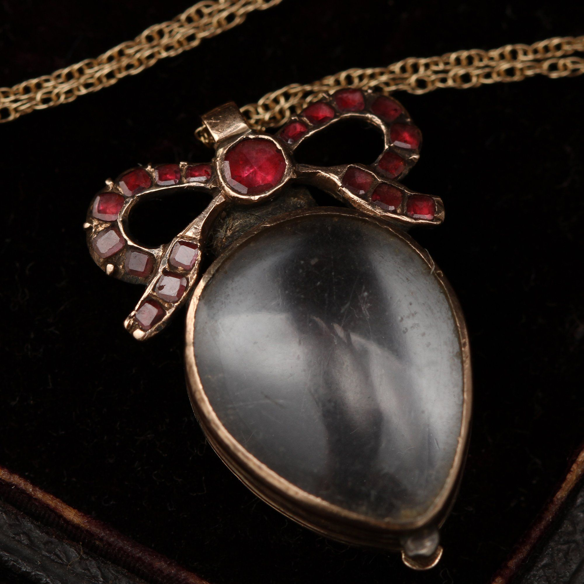 Georgian Heart Locket with Garnet Bow