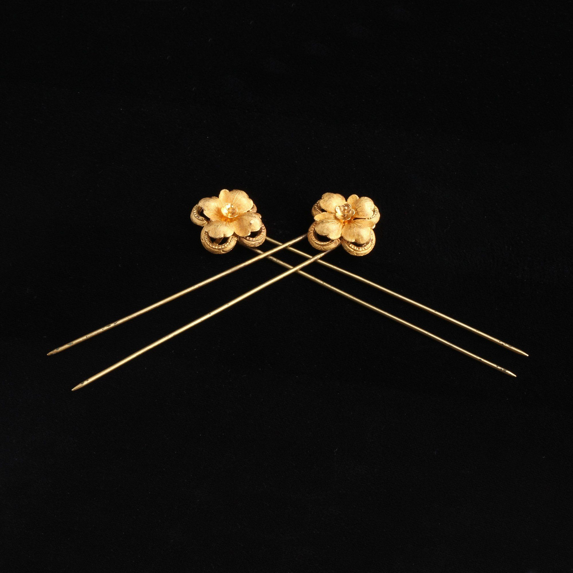 Detail of Victorian Gold and Silver Floral Hair Pins