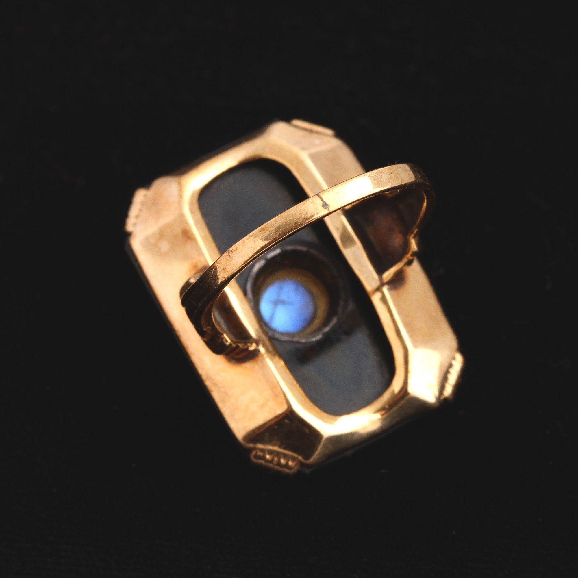 Art Deco Onyx & Moonstone Cocktail Ring