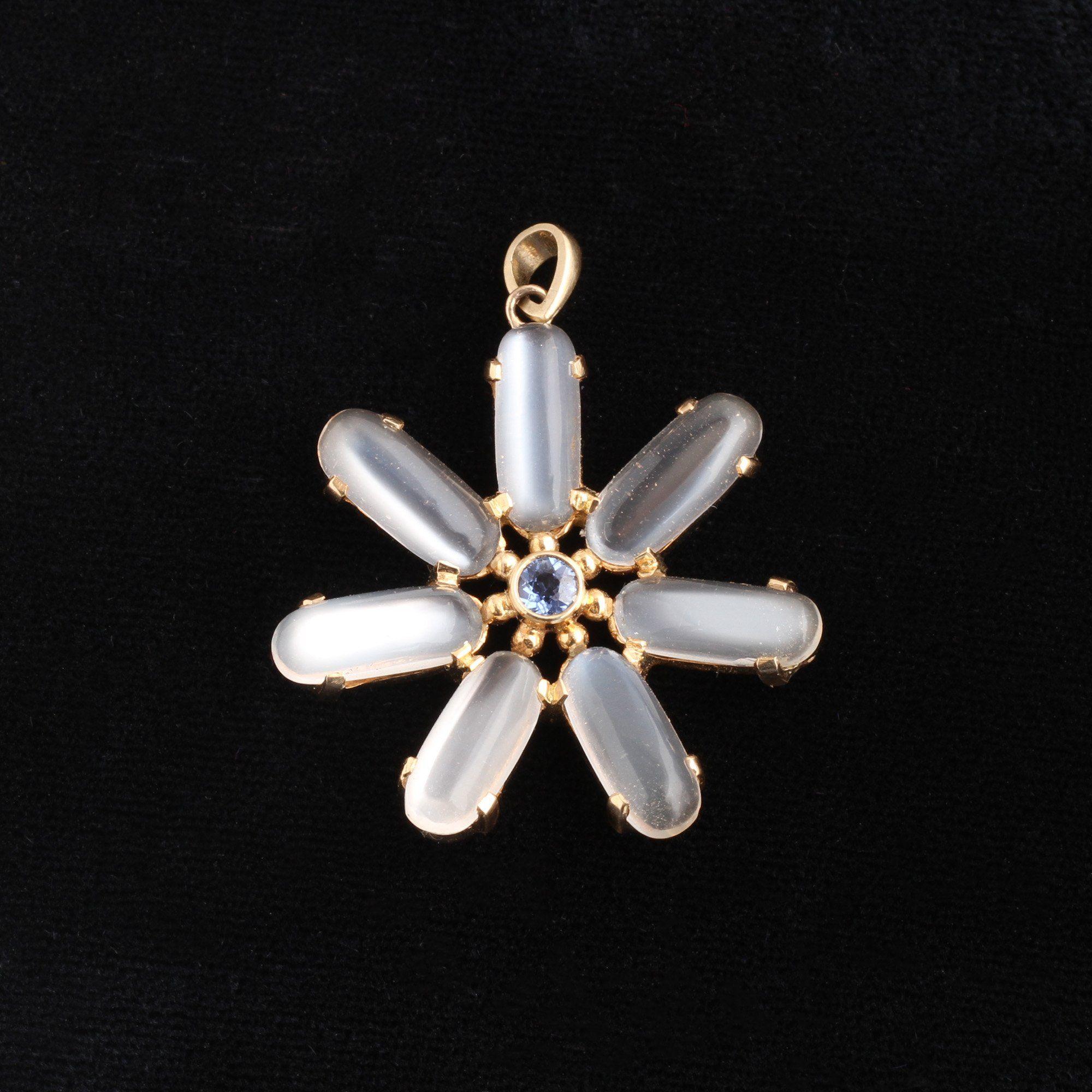 Vintage Moonstone and Sapphire Flower Pendant