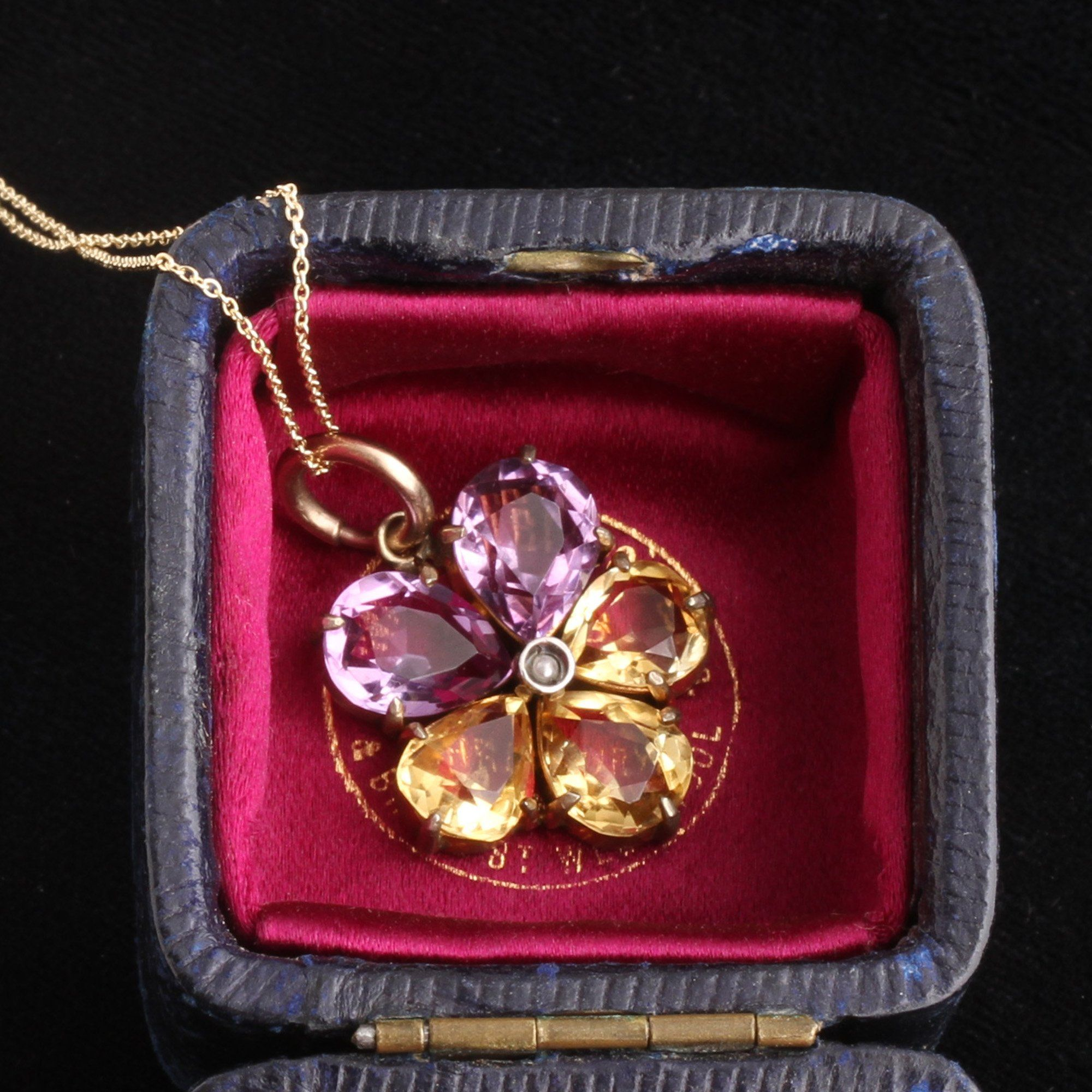 Victorian Amethyst, Citrine & Pearl Pansy Necklace