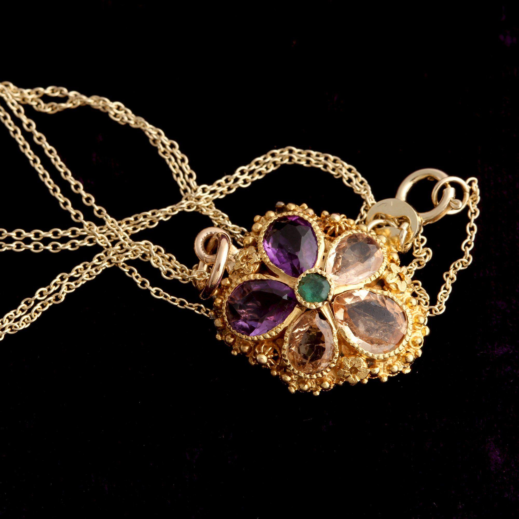 Victorian Gemstone Pansy Pendant