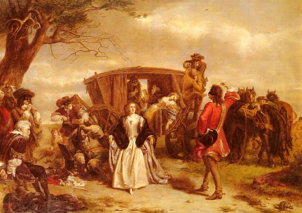 """William Powell Frith's 1860 painting """"Claude Duvall"""" depicting a famous French highwayman in Restoration England."""