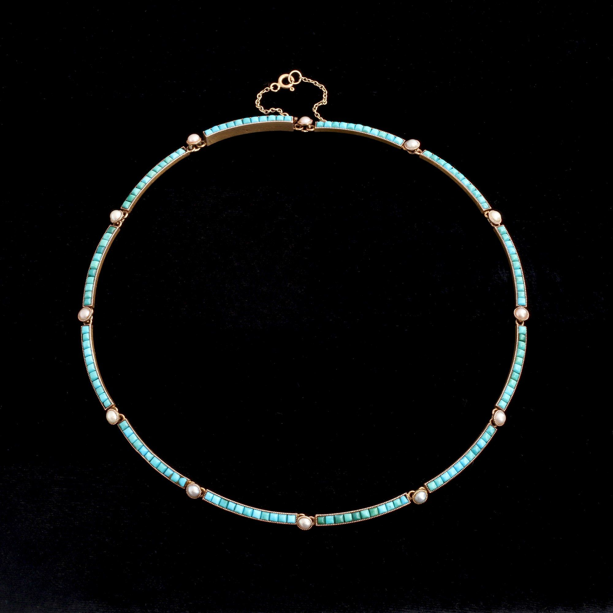 Victorian Turquoise & Pearl Collar