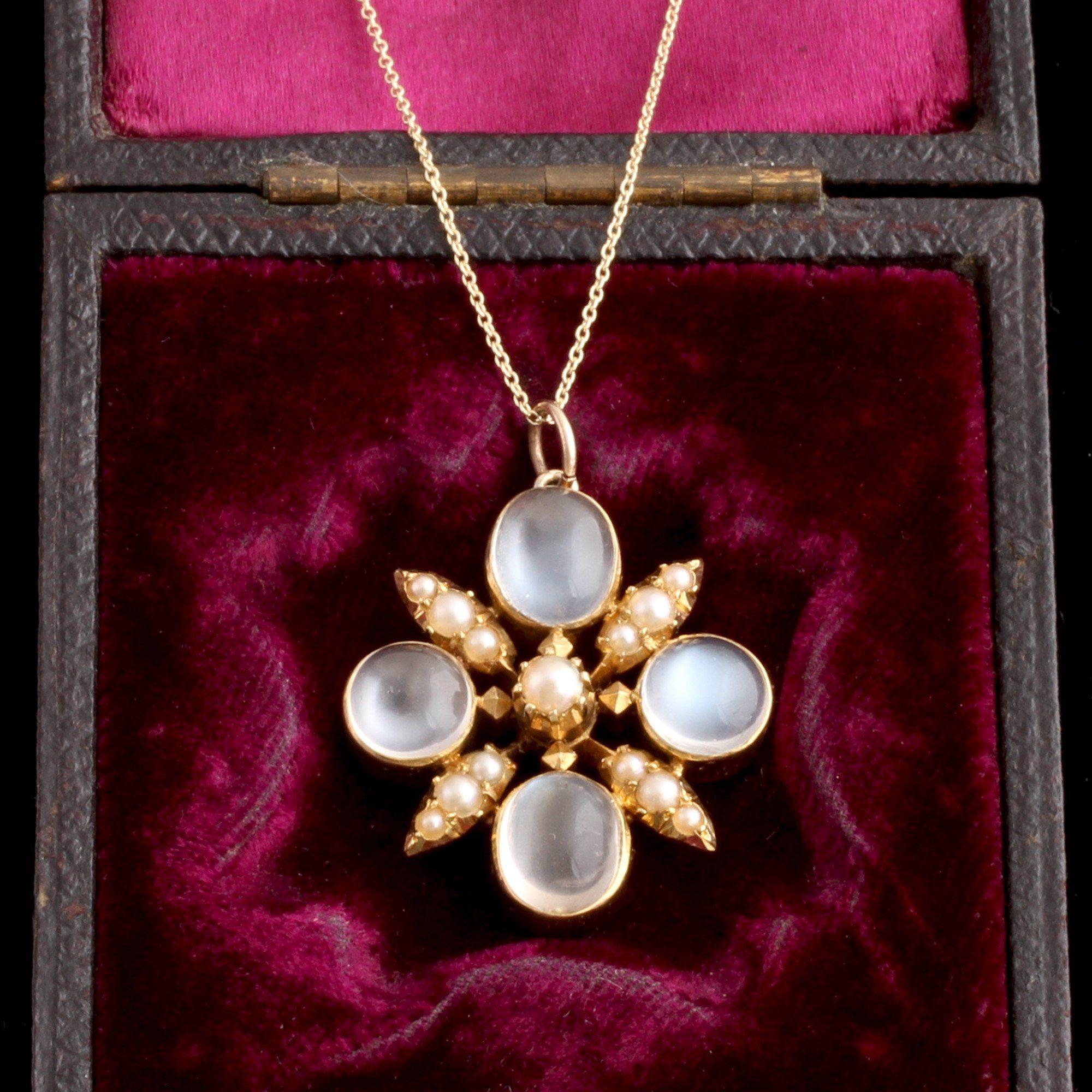 Victorian Moonstone & Pearl Pendant