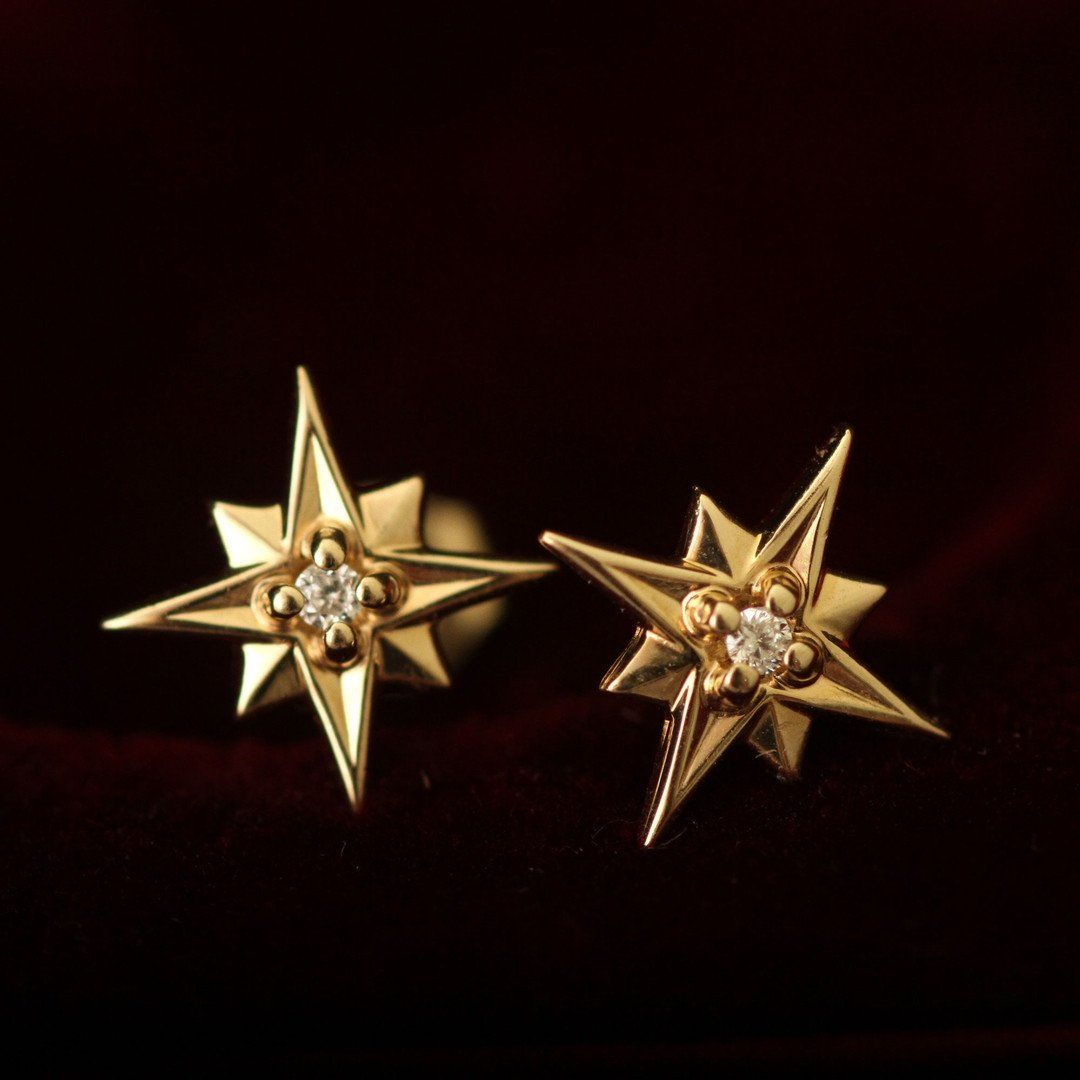 Compass Rose Earrings (14k Yellow Gold)