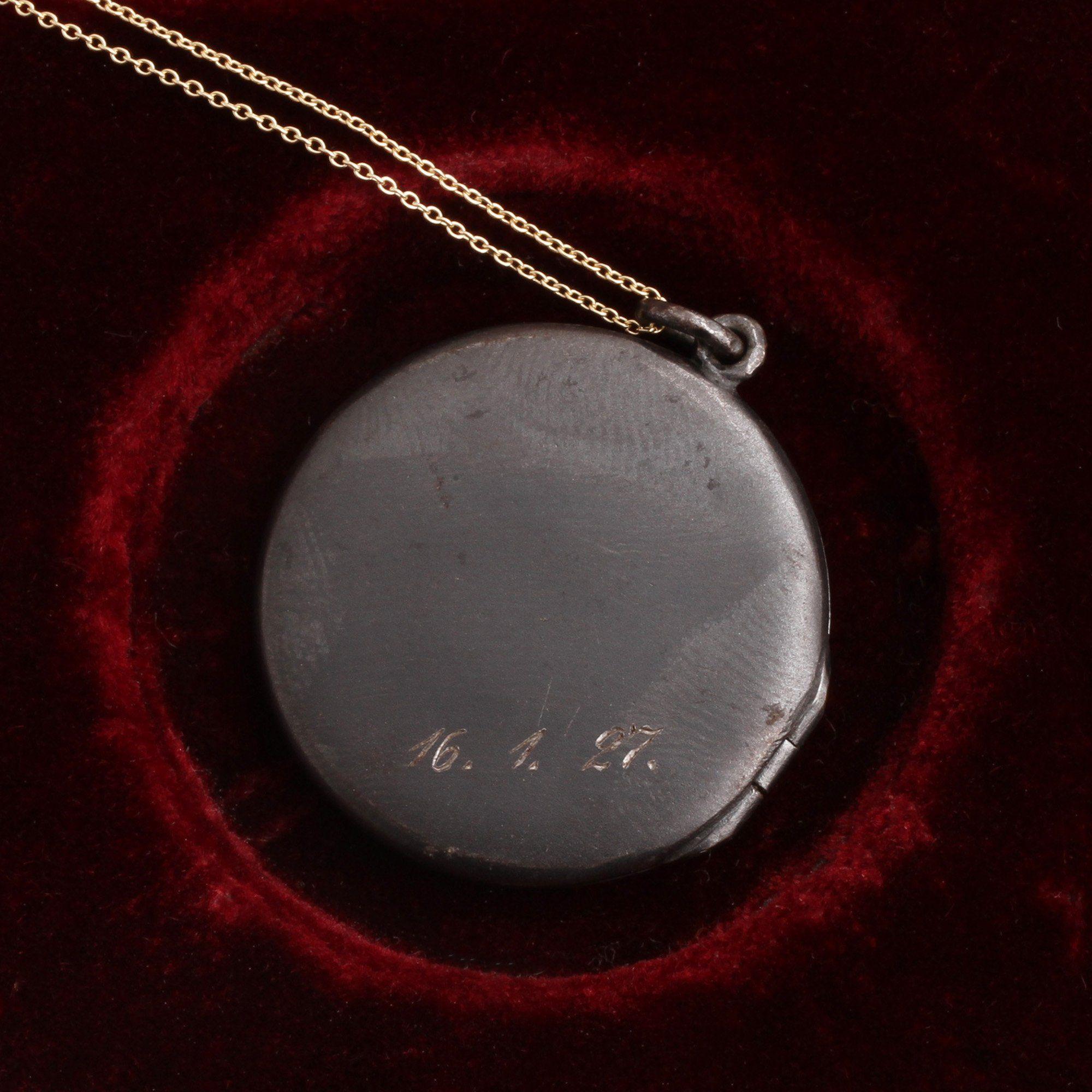 "1920s ""HH"" & Ruby Gunmetal Locket"