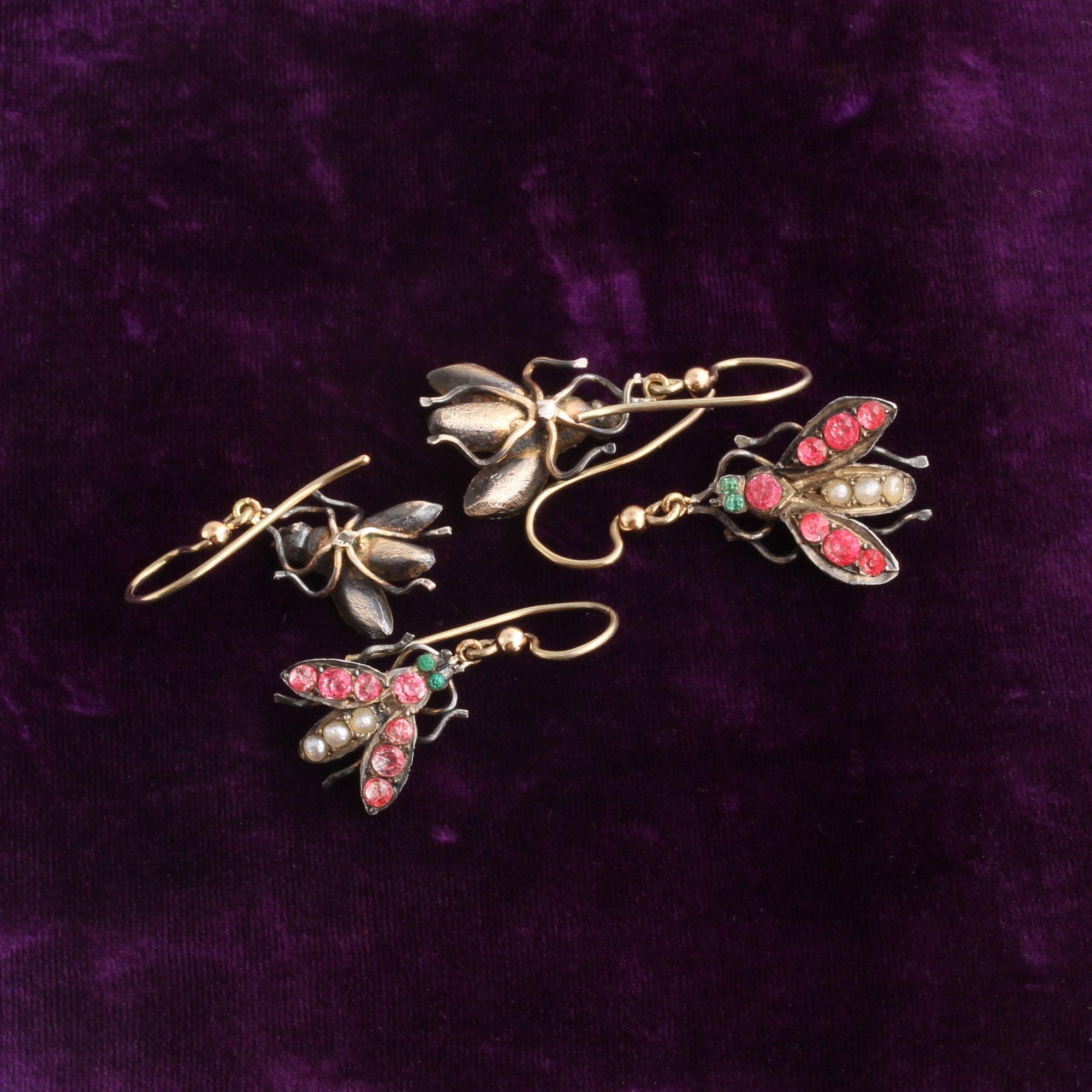 Georgian Pearl & Paste Fly Earrings