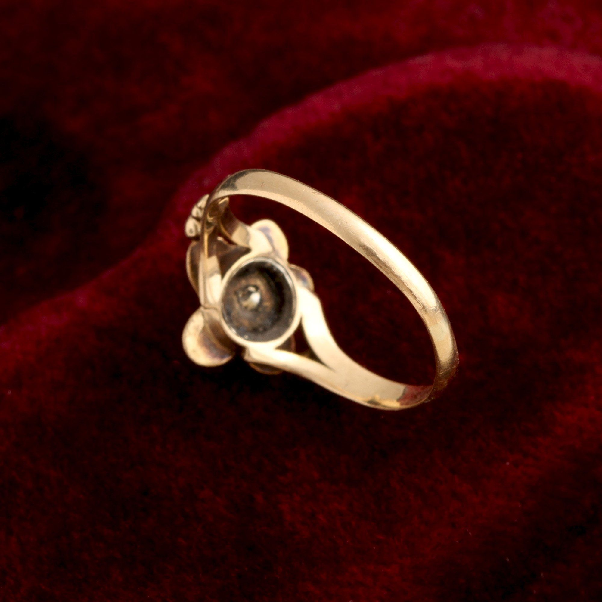 Georgian Turquoise & Diamond Pansy Ring