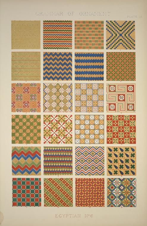 Egyptian no. 6; geometrical ornaments from ceilings of tombs, Grammar of Ornament, Owen Jones, 1856, from the New York Public Library.