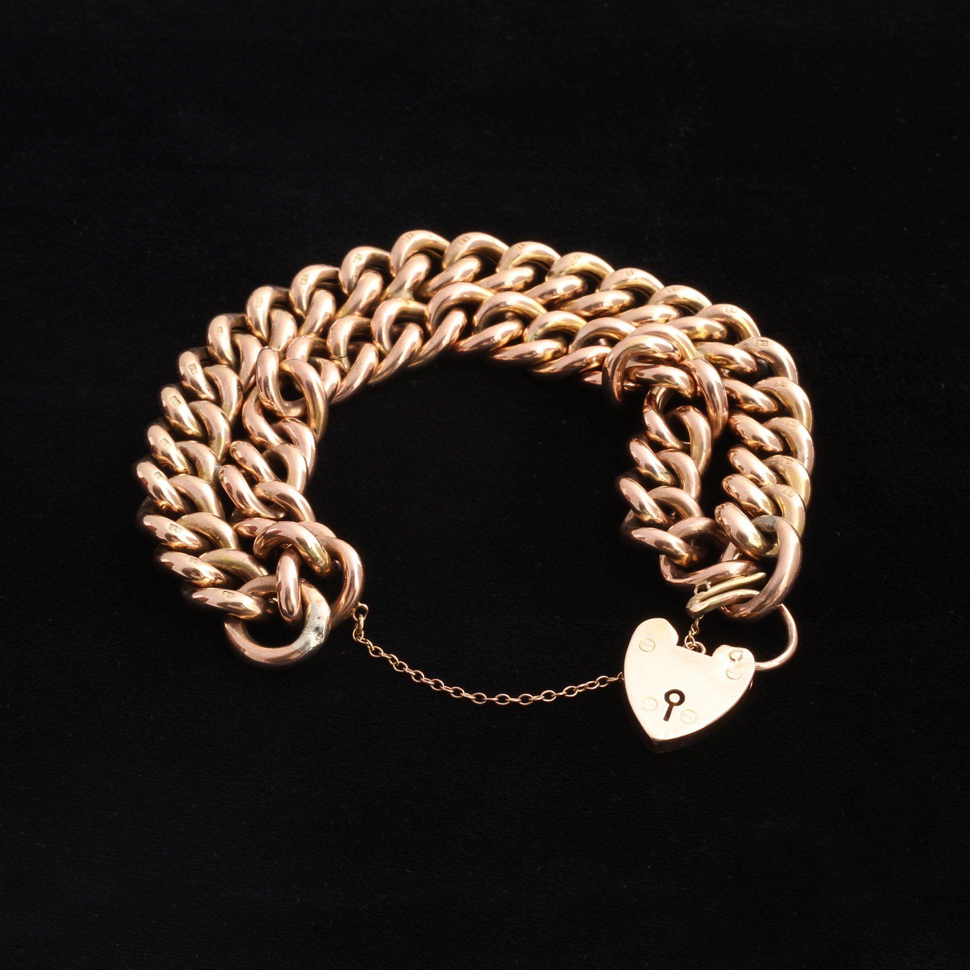 Edwardian Double Chain & Heart Padlock Bracelet