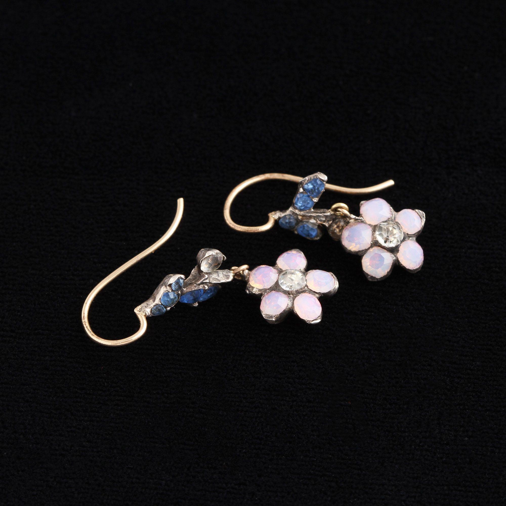 Georgian Opaline, Blue & White Paste Earrings