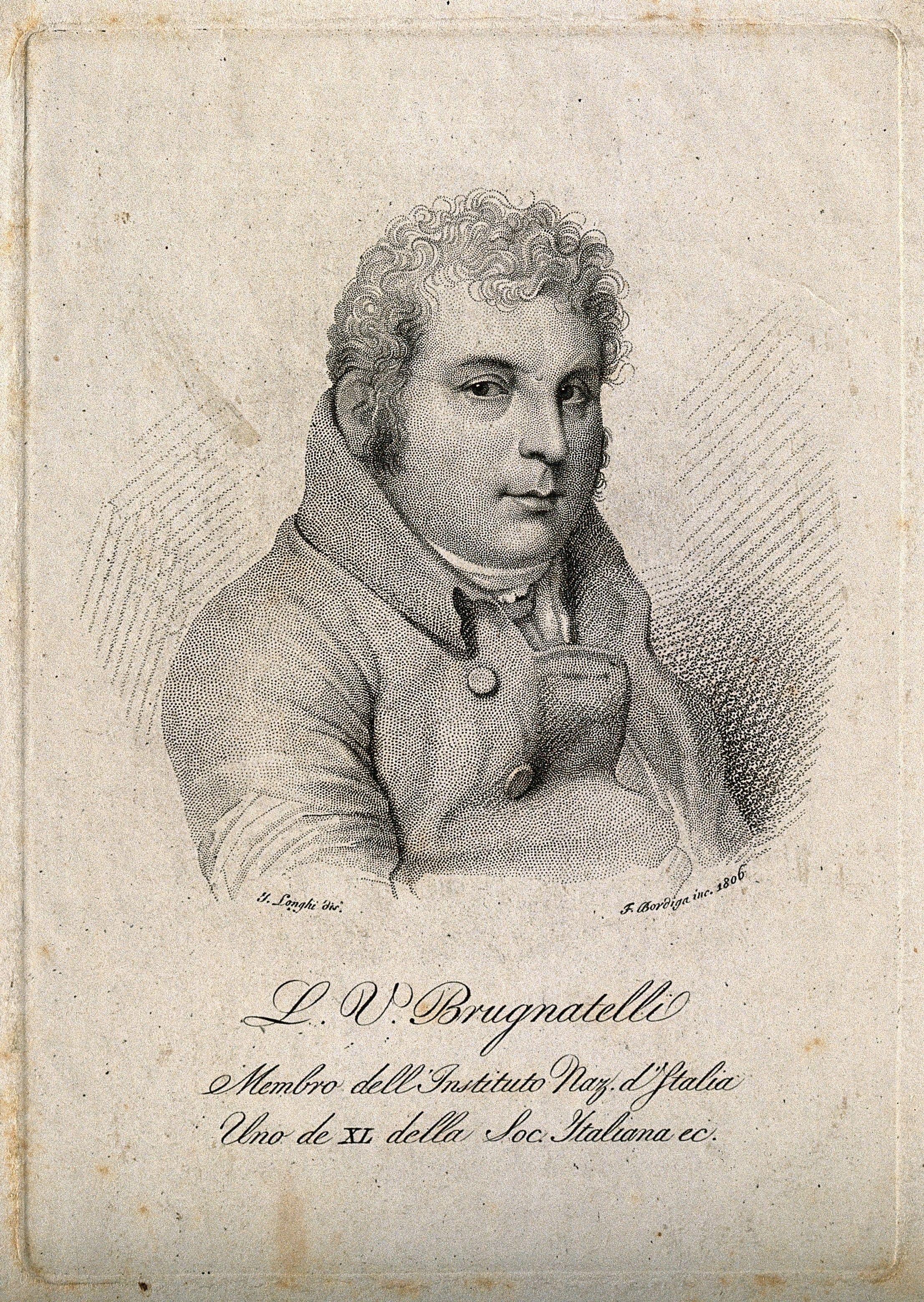 A print of Luigi Valentino Brugnatelli, the Italian inventor credited to inventing electroplating.